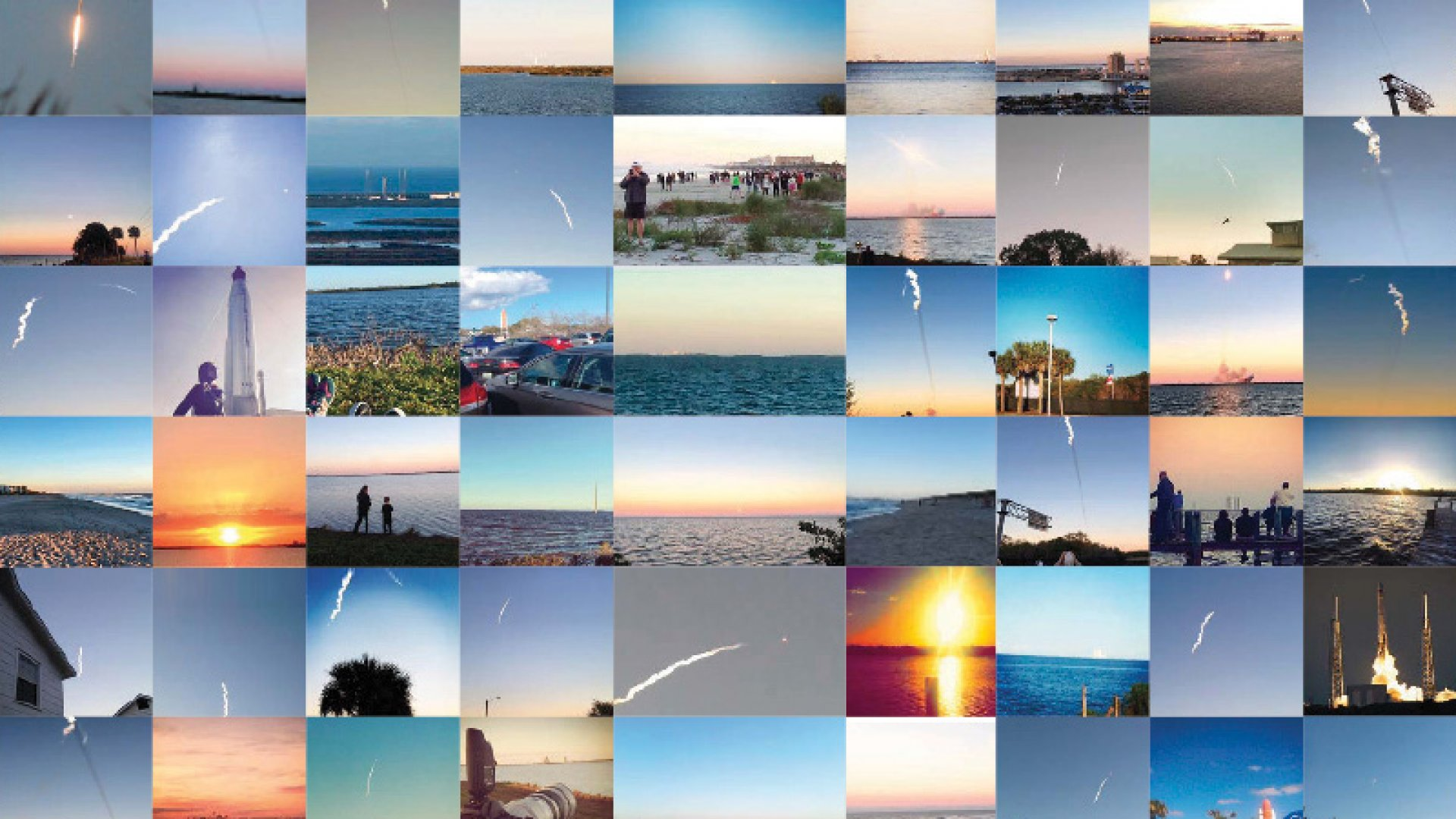 Photos Banjo aggregated from several social media networks during the launch of SpaceX's Falcon 9 rocket. All images were drawn from social media timestamped between 5 and 6:53 p.m. on February 11, and posted within a 15-mile radius of the launch site at Cape Canaveral, Florida.