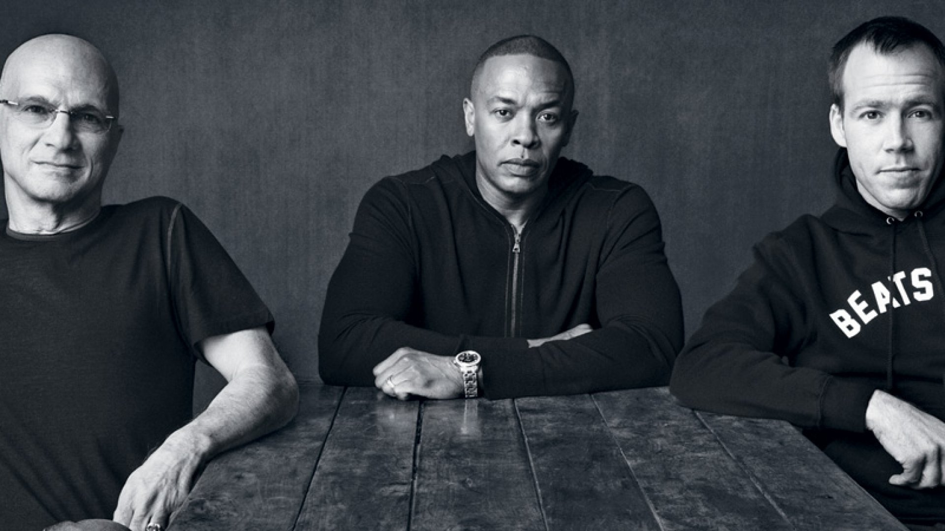 L-R: Beats Co-Founders Jimmy Iovine and Dr. Dre, and Beats President Luke Wood