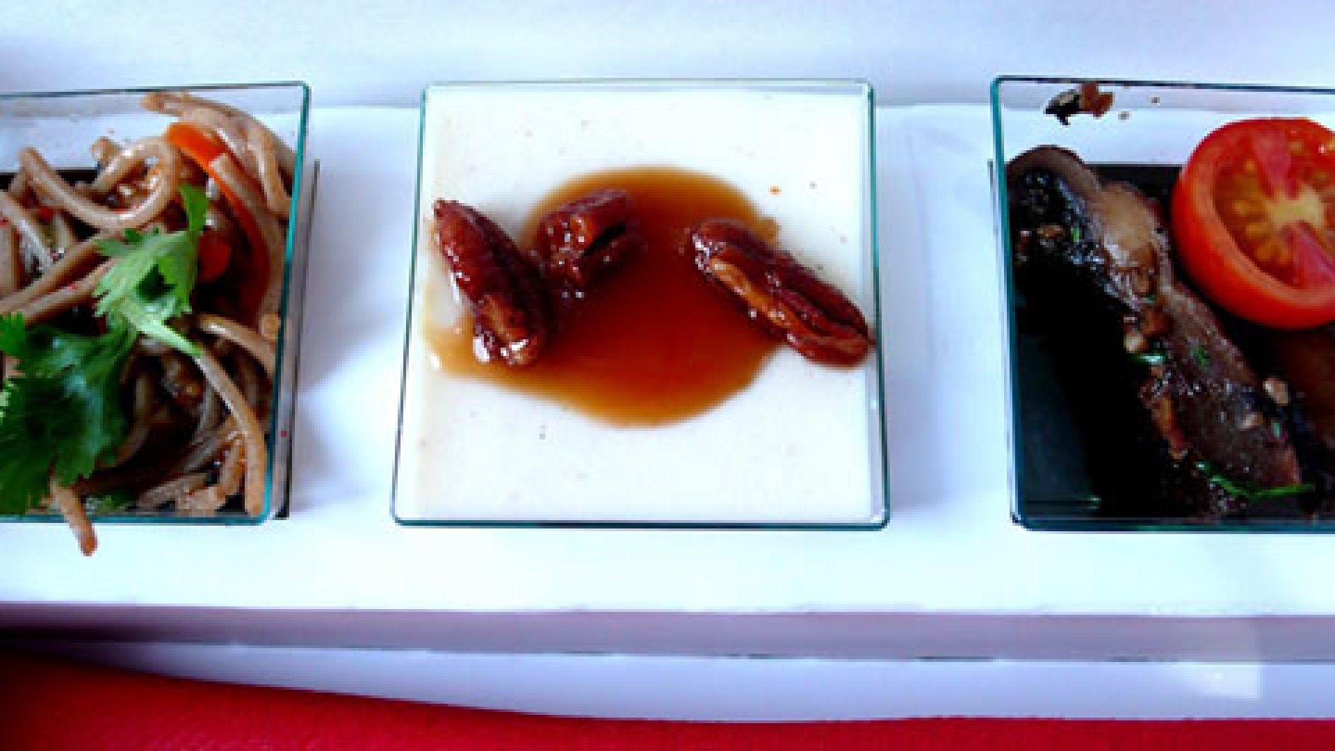 """Soba noodle salad, panna cotta with a pecan praline sauce, and balsamico braised shiitake mushrooms."" - chotda"