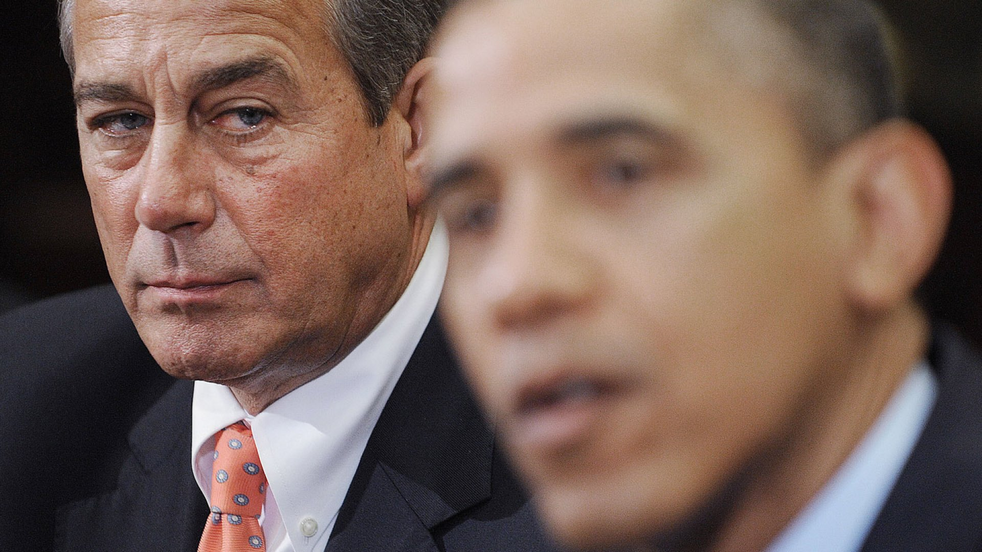 Speaker of the House John Boehner listens as U.S. President Barack Obama speaks during a meeting with bipartisan group of congressional leaders in the Roosevelt Room of the White House on November 16, 2012 in Washington, DC.