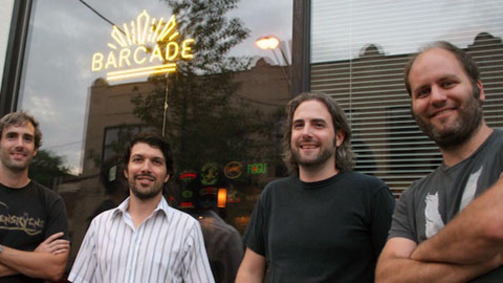 From left, partners Scott Beard, Paul Kermizian, Kevin Beard, and Pete Langway outside of Barcade in Jersey City.