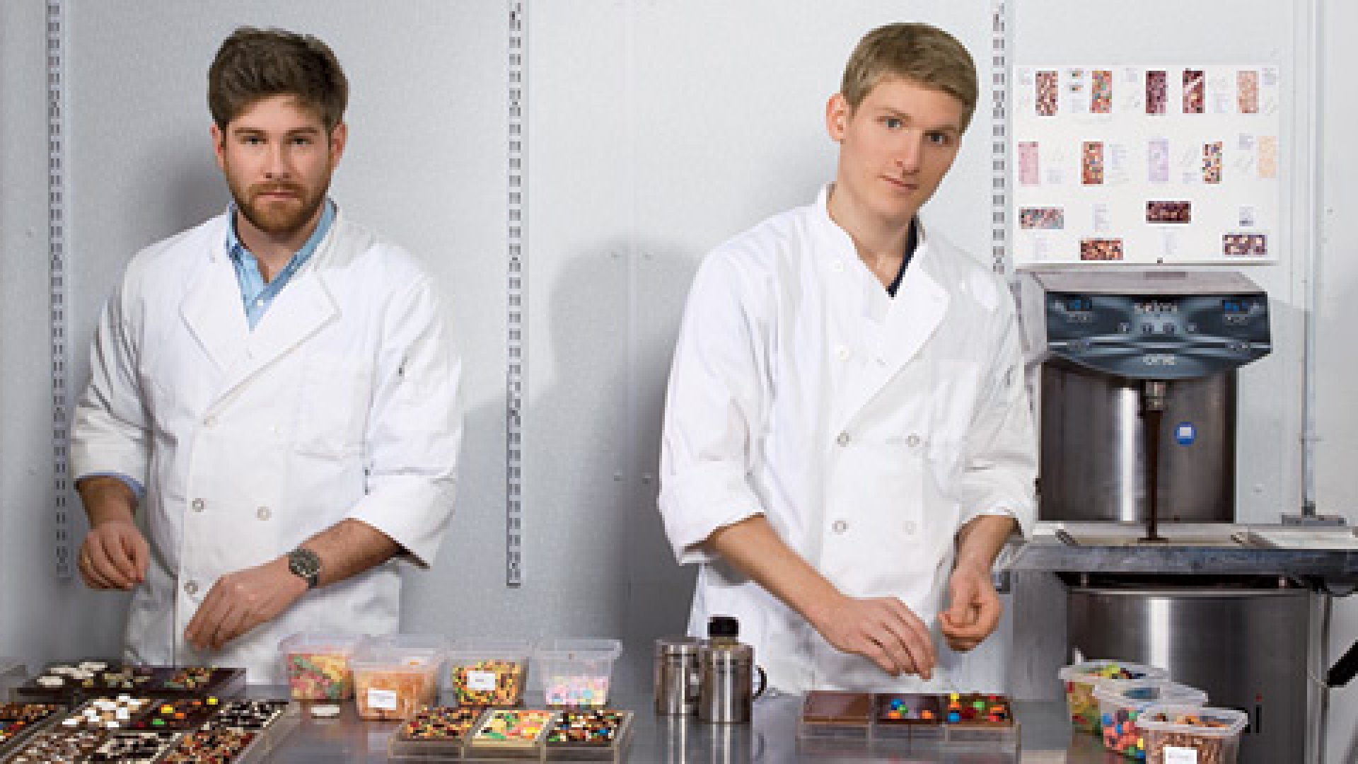 <b>The Two Chocolatiers </b>Their start-up got good press, but Eric Heinbockel (left) and Fabian Kaempfer struggled with slow sales.