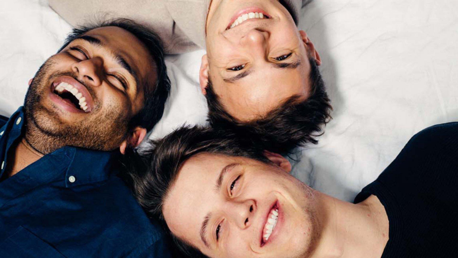 Casper co-founders Neil Parikh, 25 (bottom), Luke Sherwin, 26 (right), and Gabe Flateman, 24 (left), rest their heads on their favorite horizontal surface.