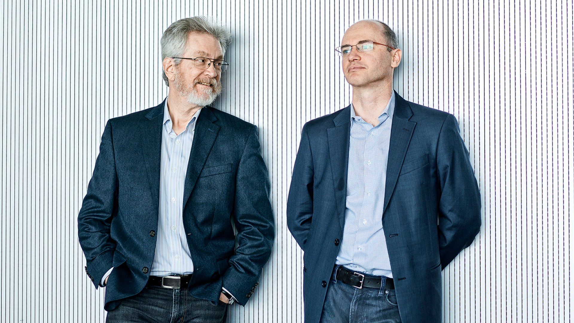 Cogito co-founders Sandy Pentland (left) and Joshua Feast. The two met when Feast took a Pentland-curated seminar at MIT. Pentland's research on nonverbal social cues gave Feast the inspiration for the company.