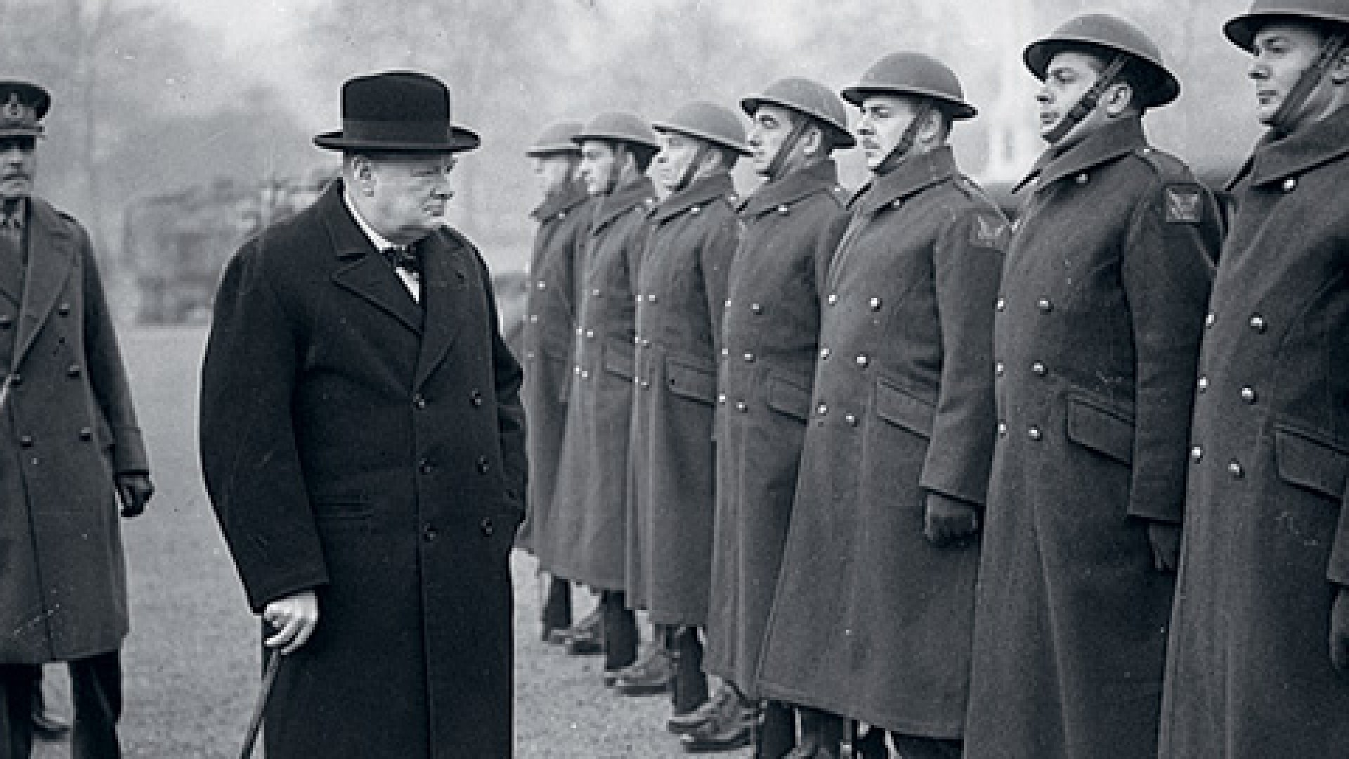 <b>Listen Up</b> Winston Churchill inspects British troops in 1941.