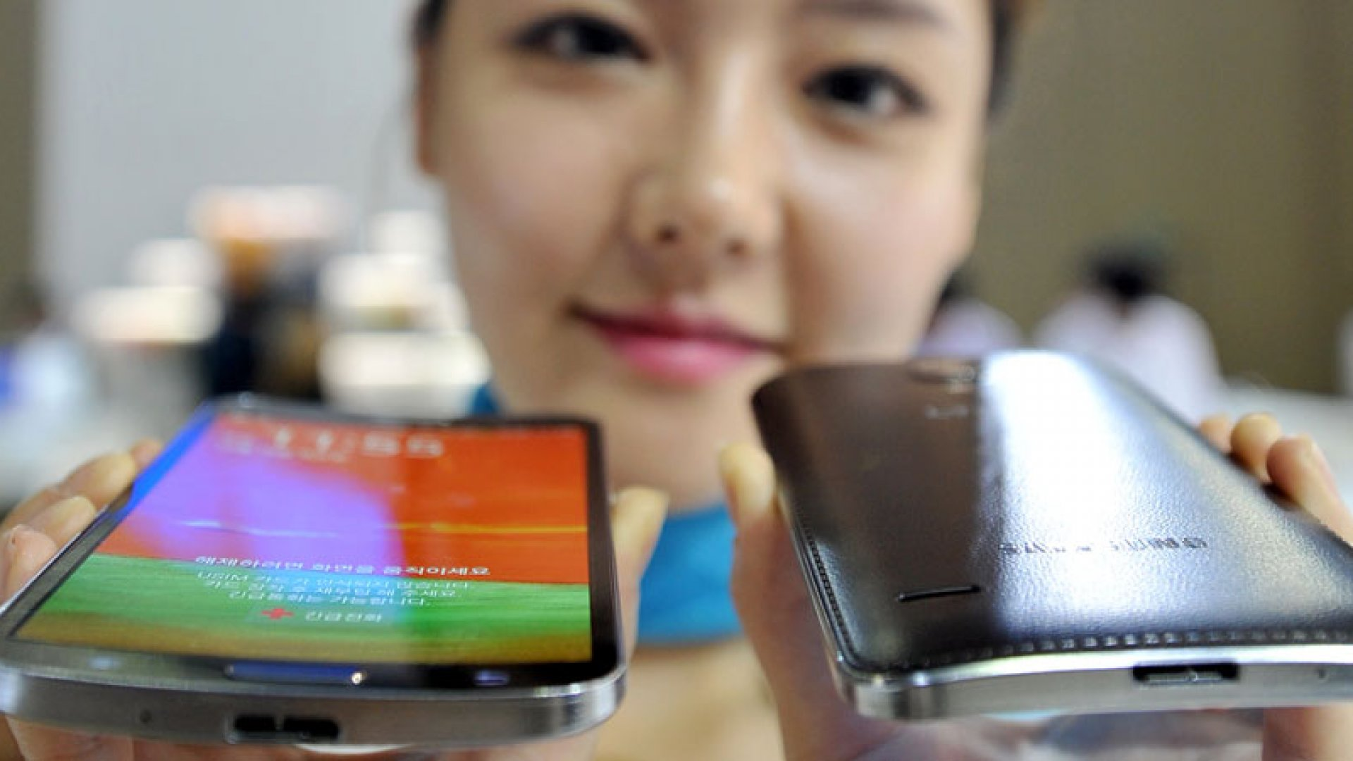 """Samsung's first """"curved"""" smartphone--the Galaxy Round."""