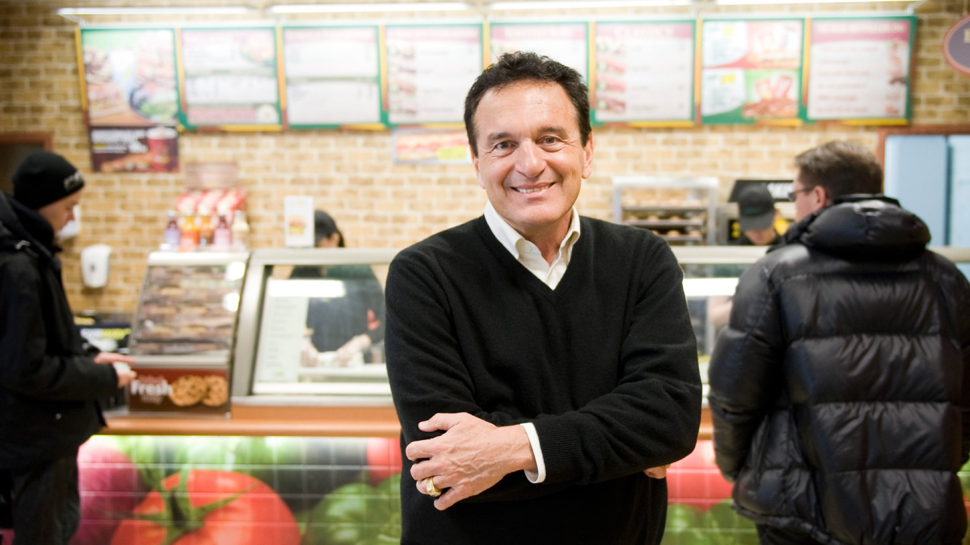 Fred DeLuca, President and founder of sandwich maker Subway, poses in a Subway restaurant at 'Solna Centrum' in Stockholm on March 10, 2011.