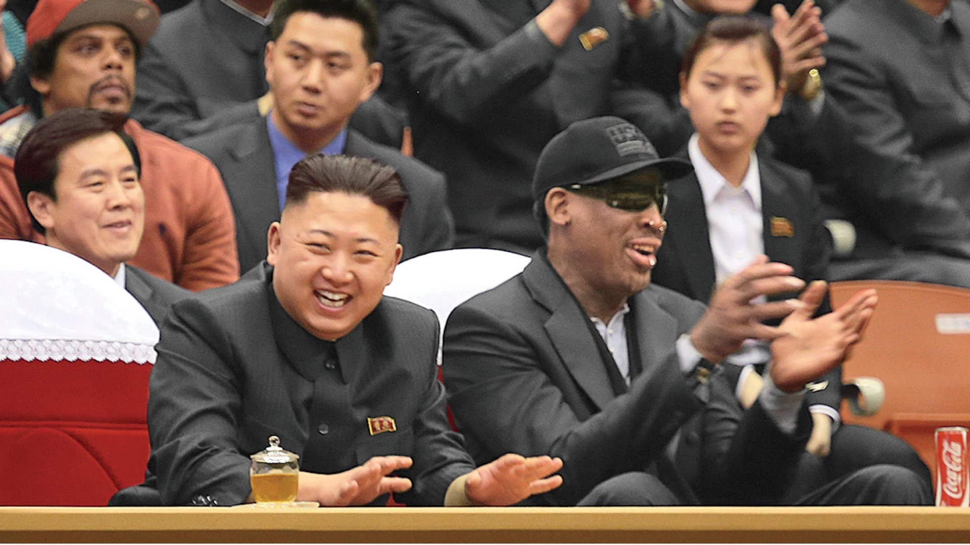 <strong>ODD COUPLE</strong> Freelance diplomat Dennis Rodman enjoys some hoops with North Korea's Supreme Leader, Kim Jong-un.