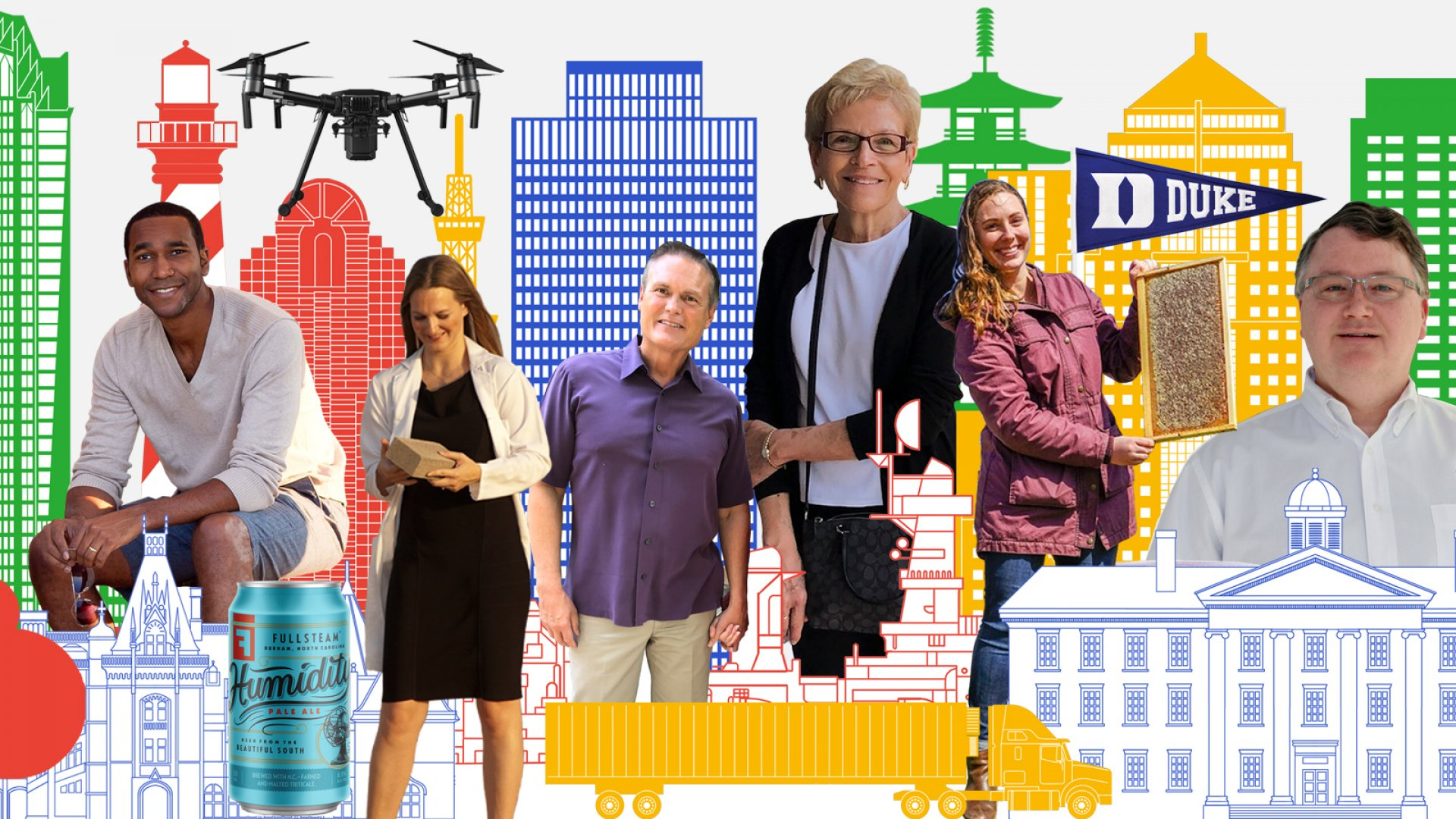 (From left) RewardStock founder Jon Hayes; Fullsteam Brewery Humidity Pale Ale; PrecisionHawk drone; architect Ginger Dosier; entrepreneur David Gardner; investor Jan Davis; Bee Downtown founder Leigh-Kathryn Bonner; Duke University flag; and Spiffy CEO Scot Wingo.