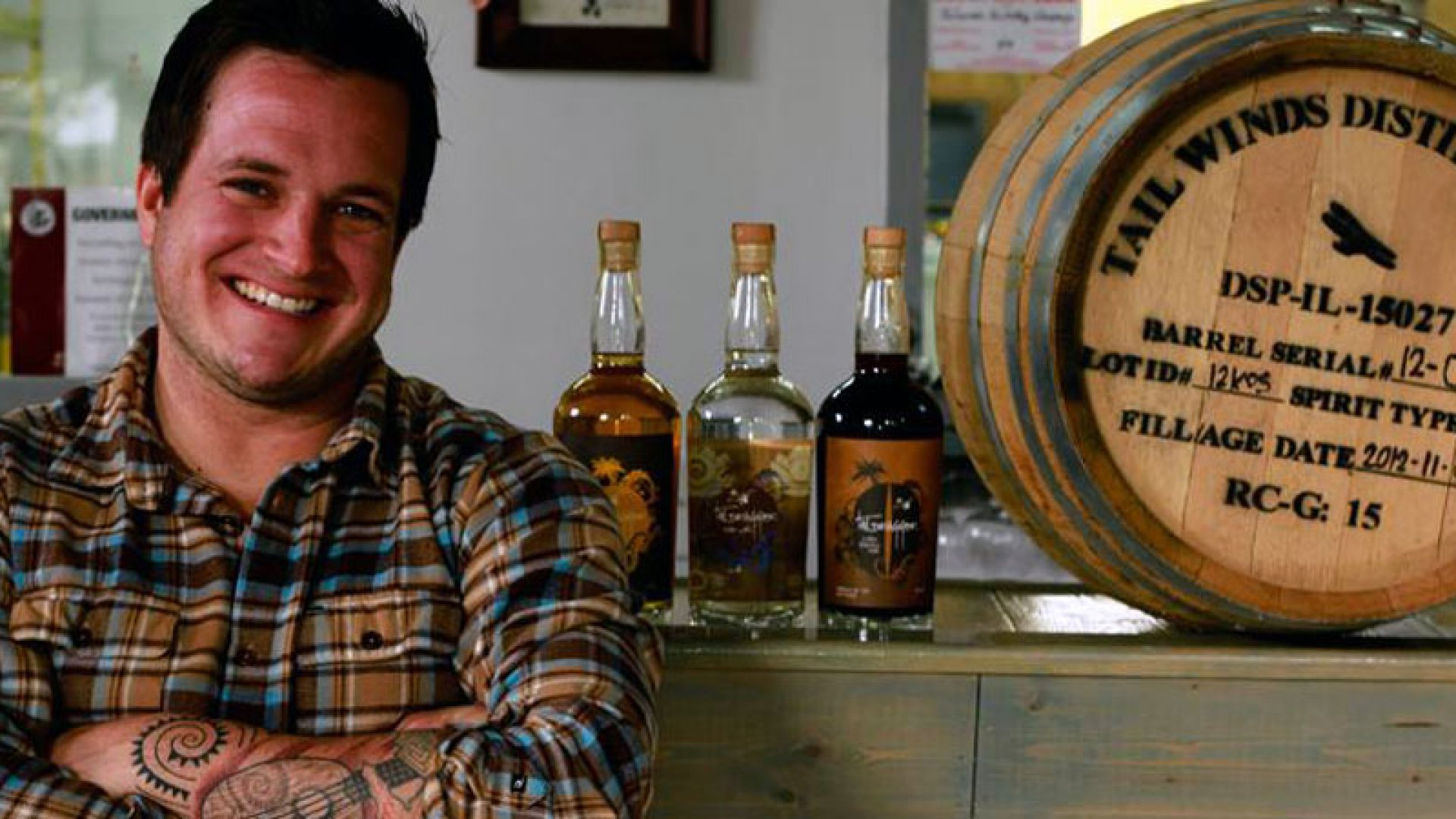 Toby Beall strikes a pose at Tailwinds Distilling.