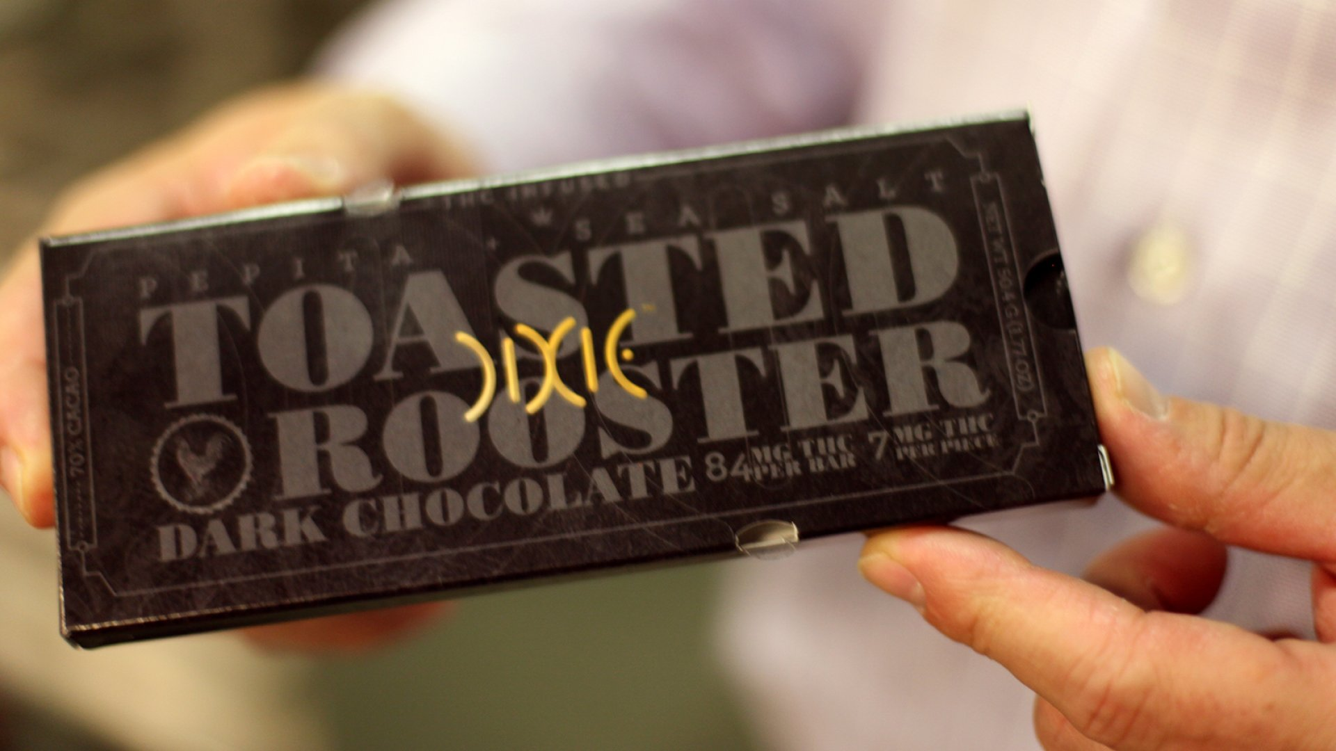 Dixie Elixirs's newest product, called the Toasted Rooster, is a gourmet chocolate bar with 84 mg of THC oil.