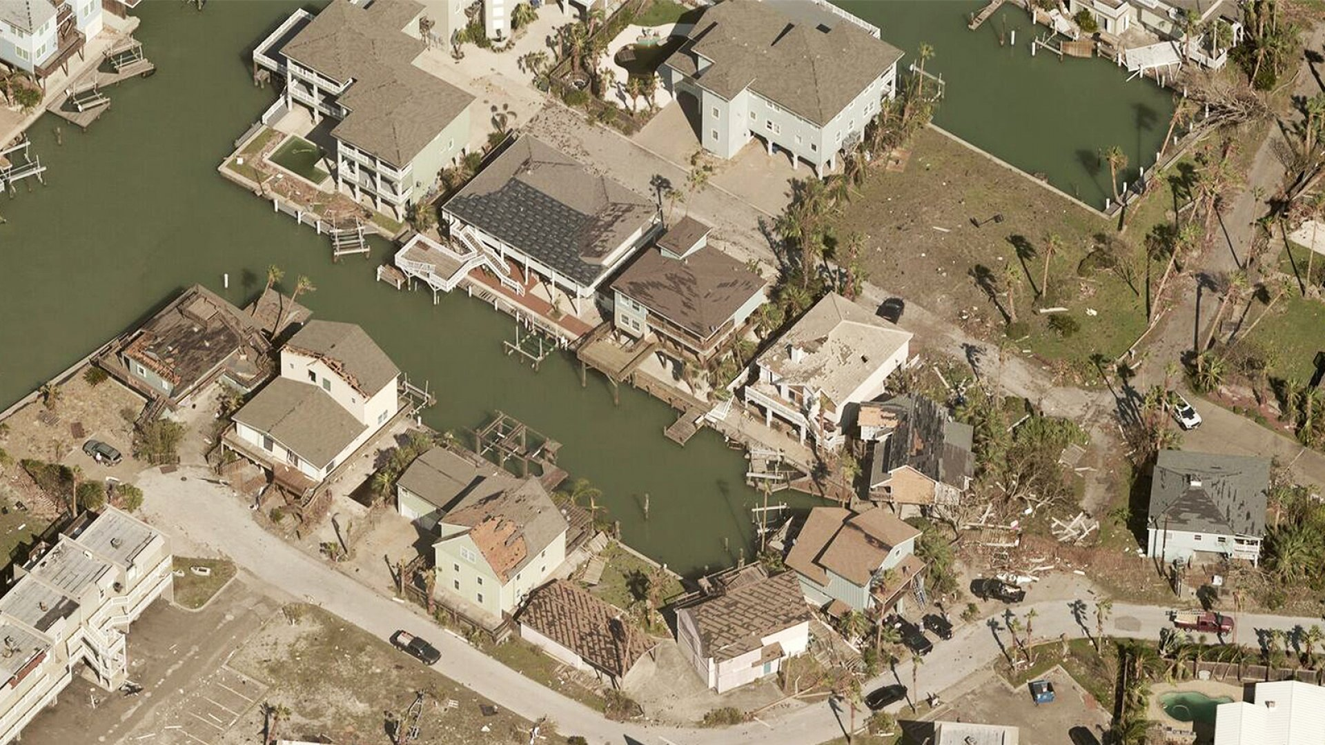Drone imagery captures the aftermath of Hurricane Harvey.