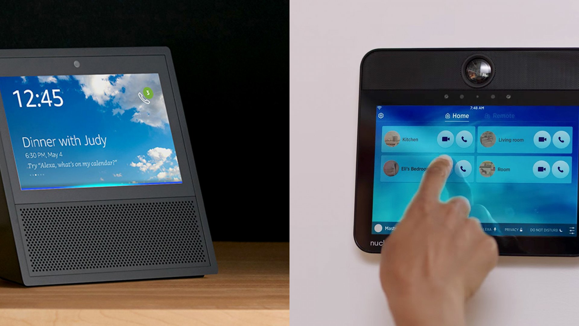 Amazon's Echo Show (left) and the Nucleus Intercom.