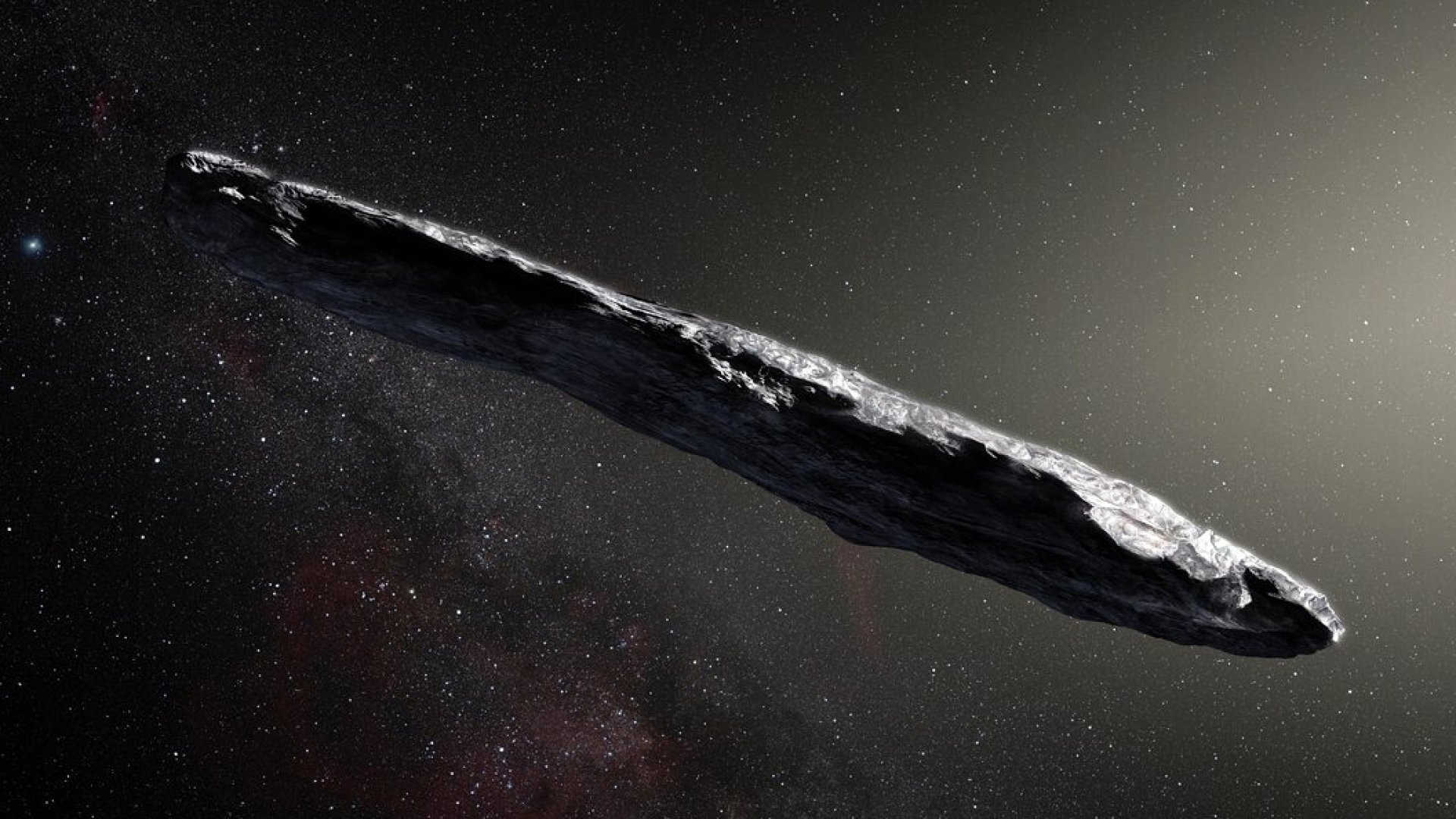 Artist's impression of the interstellar asteroid `Oumuamua.