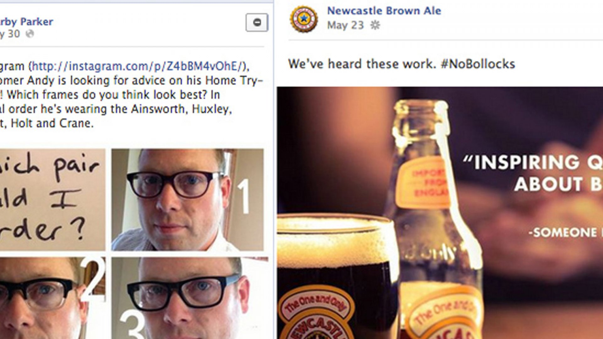 Sample Facebook posts from Warby Parker and Newcastle Brown Ale--two brands with exceptional Facebook presences.