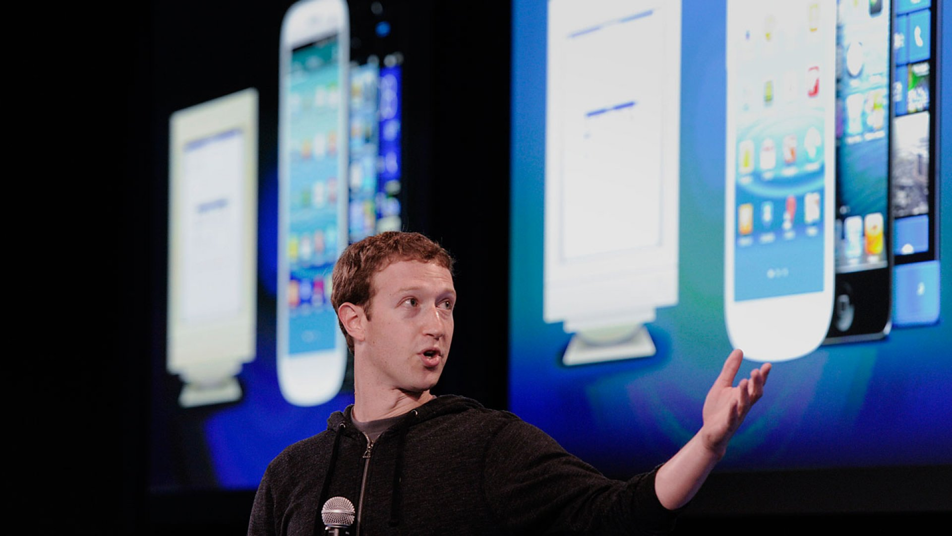 At a press conference at Facebook headquarters, CEO Mark Zuckerberg reveals how the social network will be integrated into Android software.