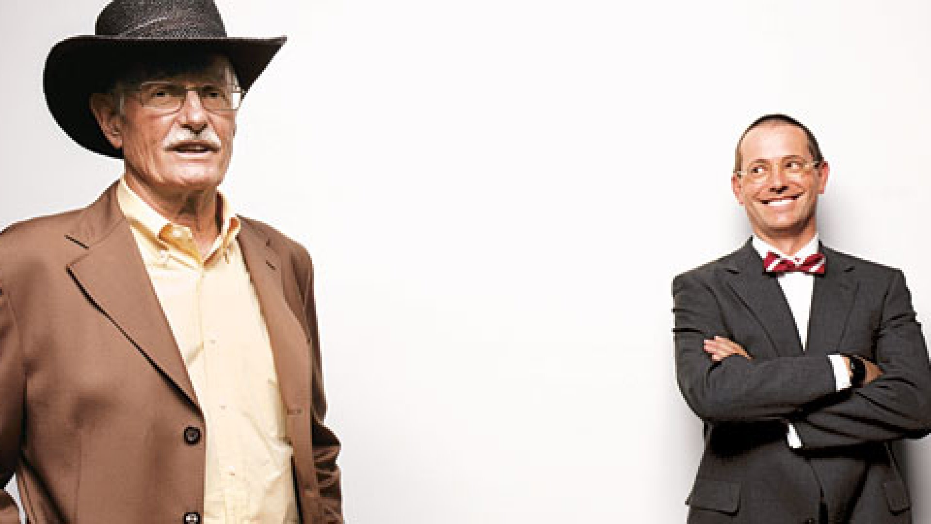 <strong>THE COWBOY AND THE PROFESSOR:</strong> Scott Koeze (in the black hat) sold the family company to his son, Jeff (in the bowtie). The transition was not seamless.