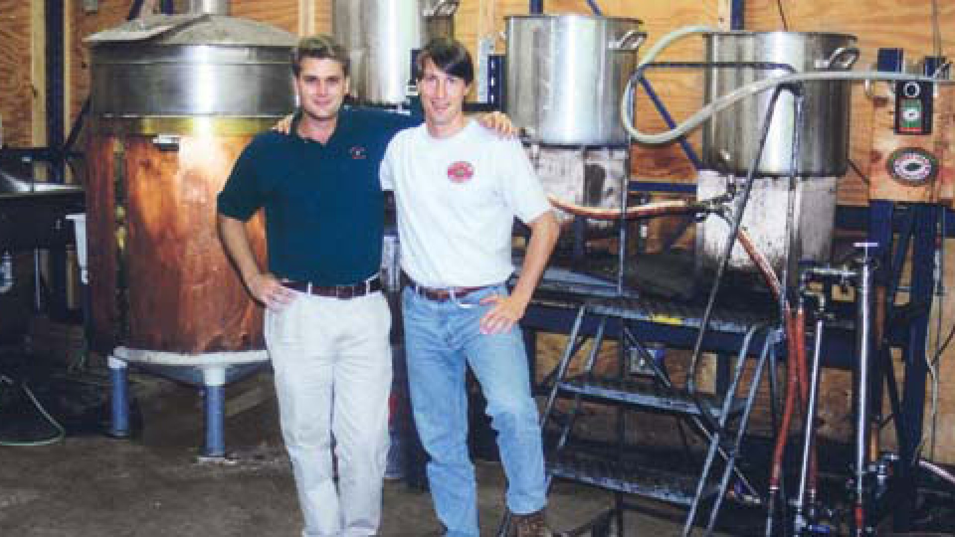 <strong>BREW BOYS</strong> Clayton Christopher (in white shirt) with partner David Smith