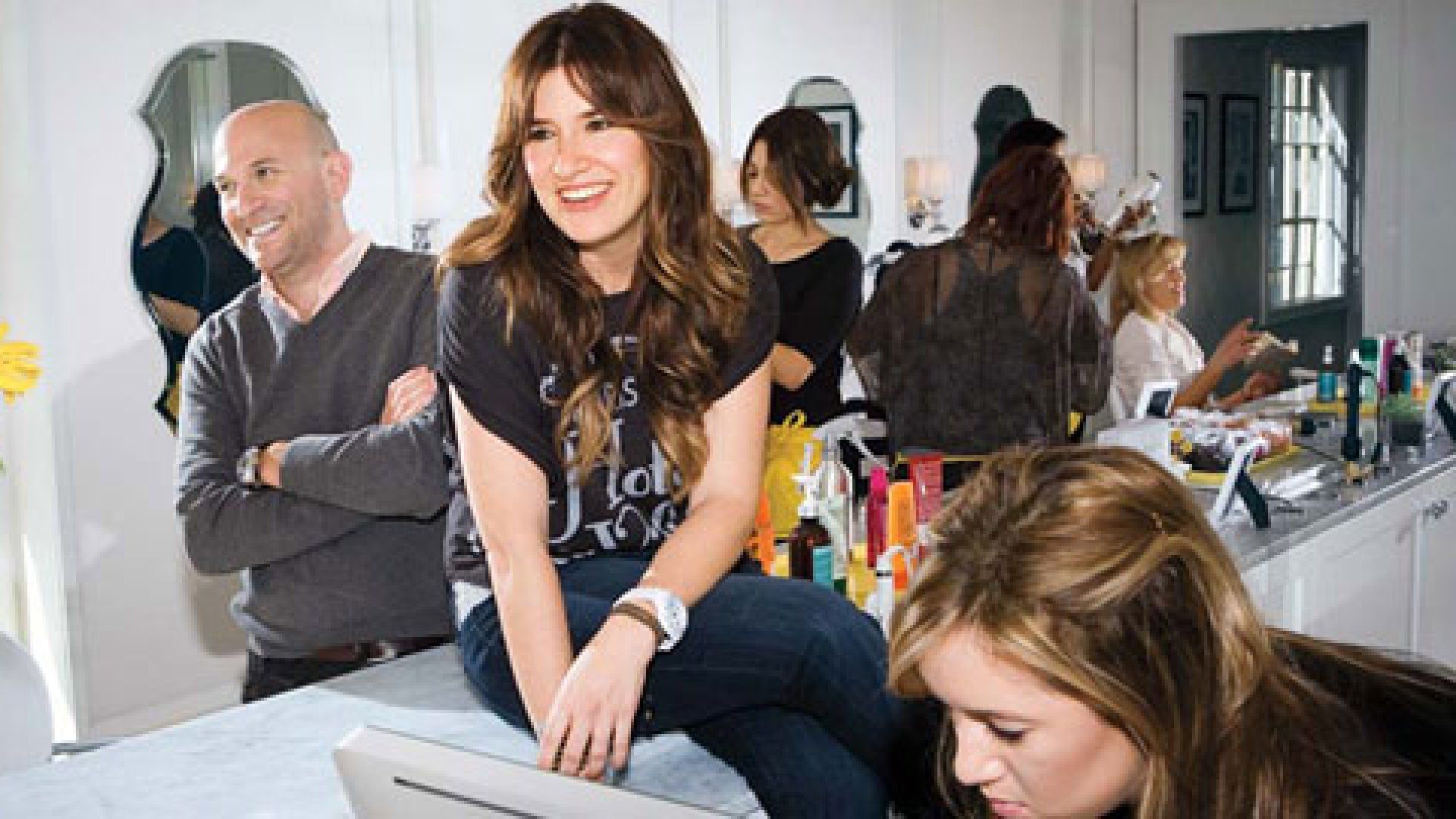 <strong>Brother-Sister Act</strong> Siblings Michael Landau and Allison Webb (center), in their West Hollywood salon, one of four they operate in the Los Angeles area. They plan to open 12 to 15 locations a year.