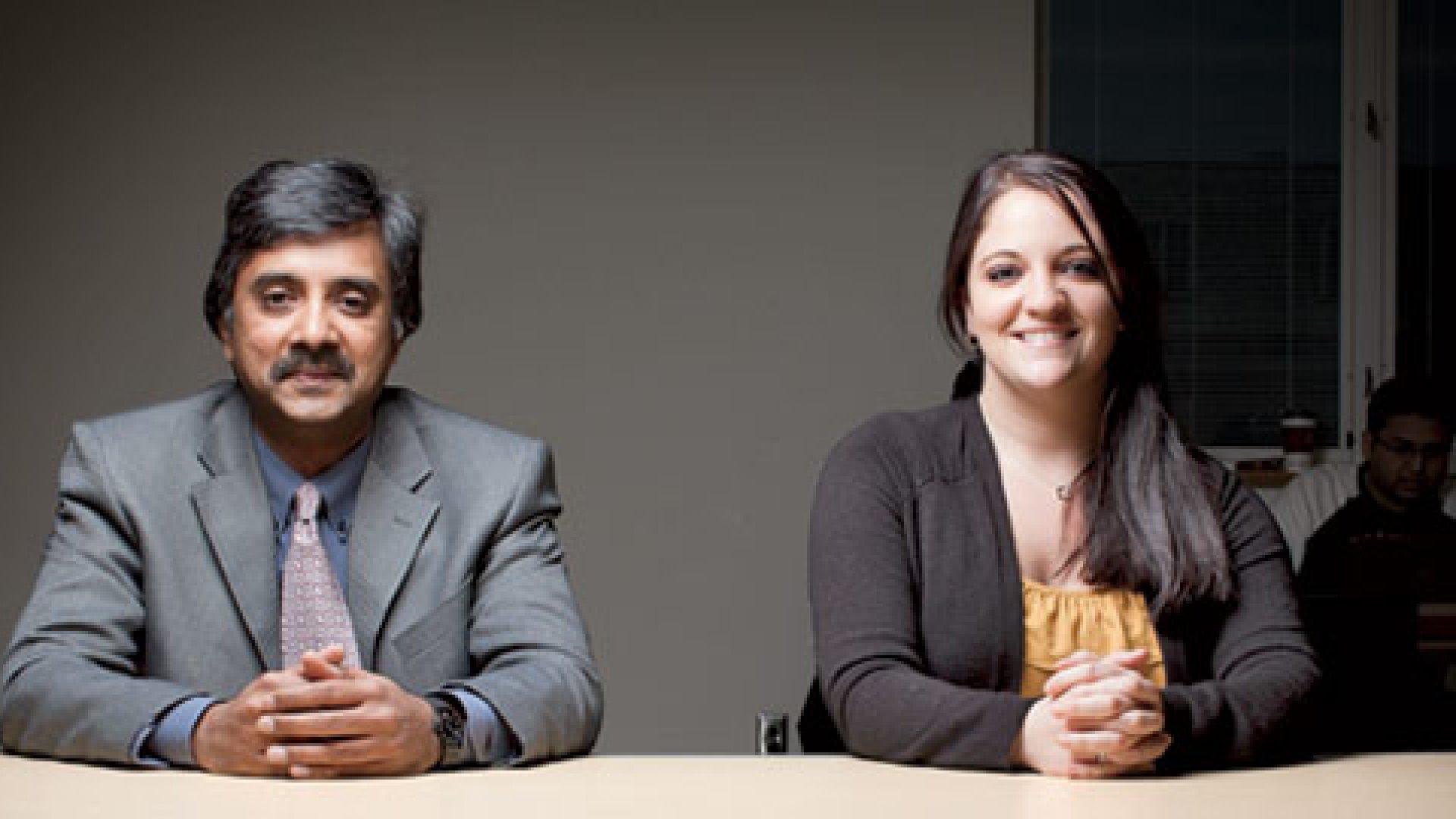 <strong>Eye Opener</strong> Jenna Goebig, right, with Madhu Viswanathan of the University of Illinois