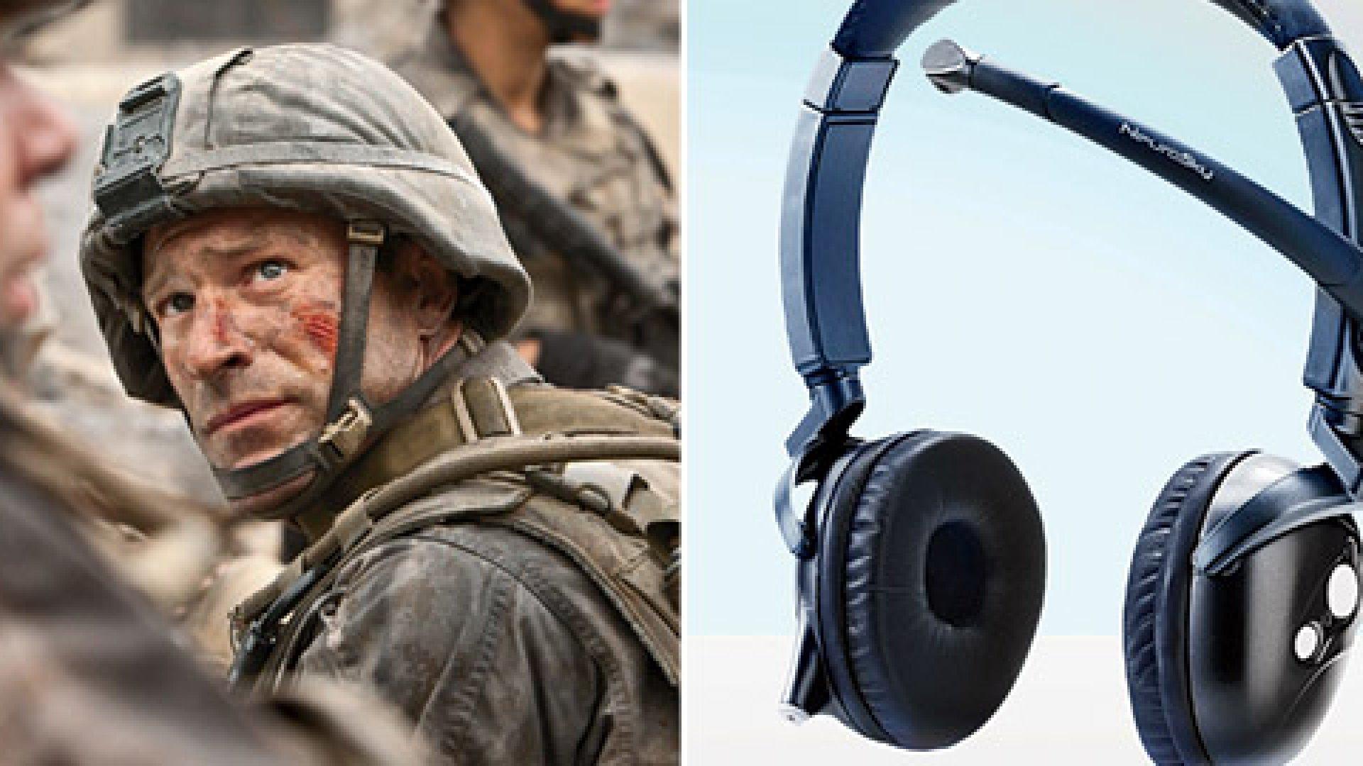 Left: Staff Sergeant Michael Nantz wearing an alien brain-wave communication device in <em>Battle: Los Angeles</em>; Right: The MindSet brain-wave headset by NeuroSky