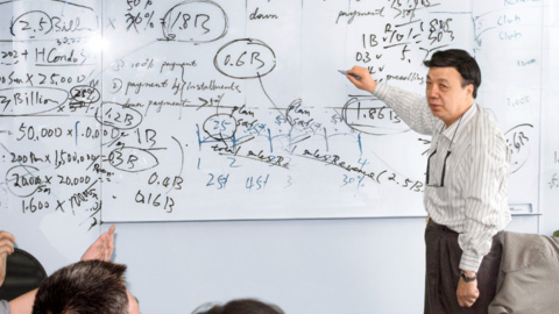 <b>Voilà</b> It's the moment of truth: Michael Lee sketches out how a complex flow of cash and debt will see his company's massive Nanjing project through to completion.