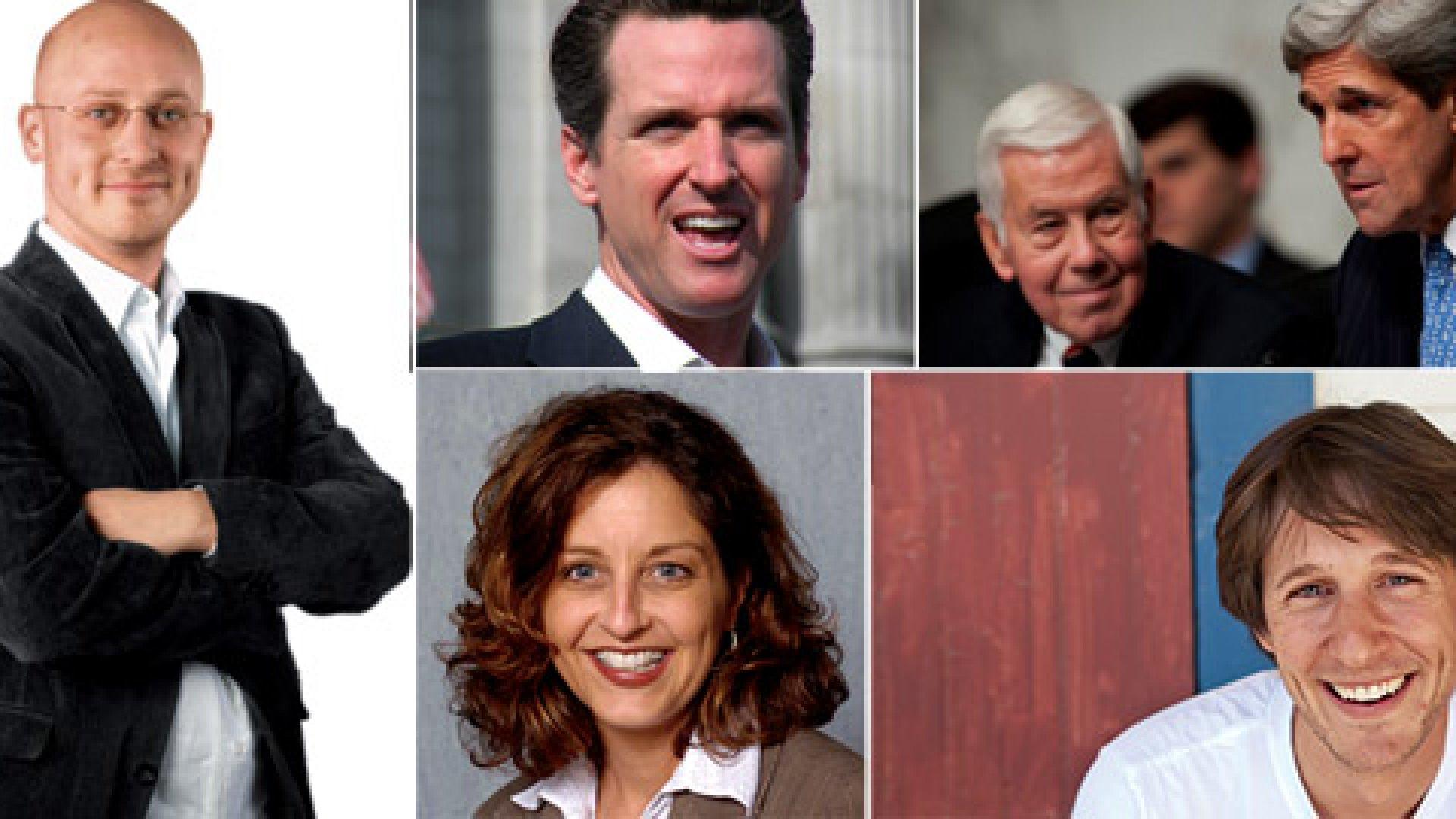 <strong>Clockwise from left</strong> Joshua Baer, Gavin Newsom, Richard Lugar, John Kerry, Caleb Zigas, Lisa Patt-McDaniel