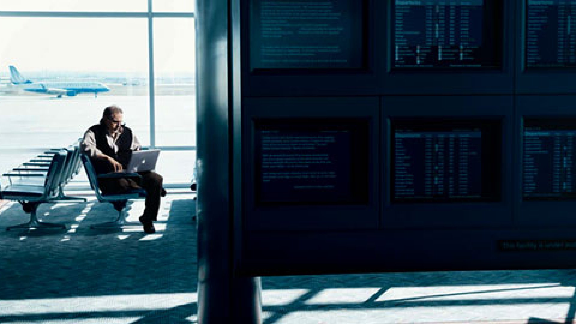 <strong>Grit and Grizzdom</strong> John Deal, with a rare moment of downtime at Denver International Airport