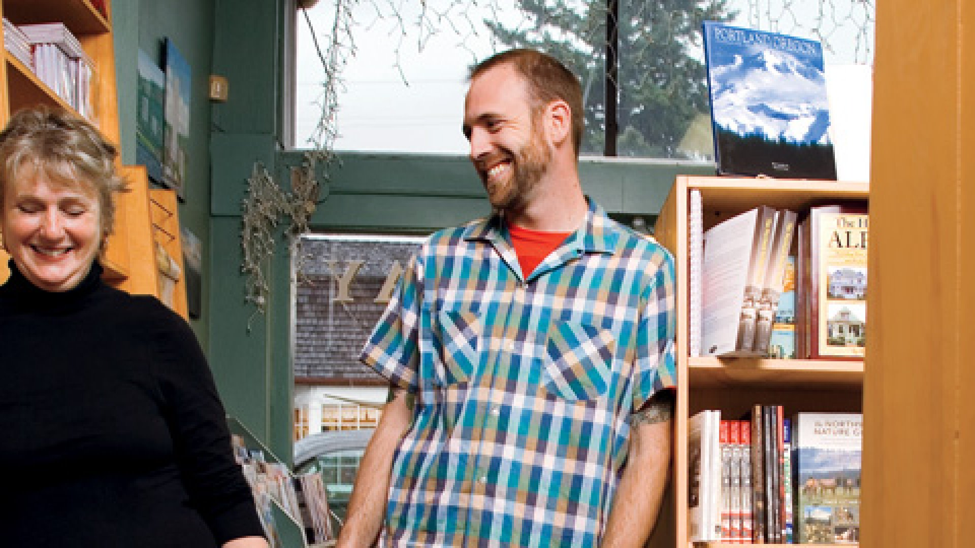 <strong>INDEPENDENT STREAK</strong> Roberta Dyer with her son, Aaron Durand, in the store she has owned since he was 12.