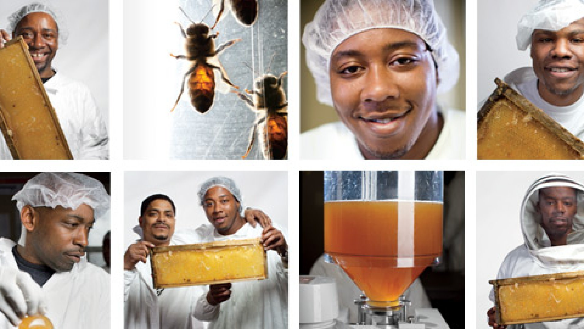 <b>Worker Bees </b>Among the jobs at Sweet Beginnings: harvesting honey from hive frames, to make products like shower gel