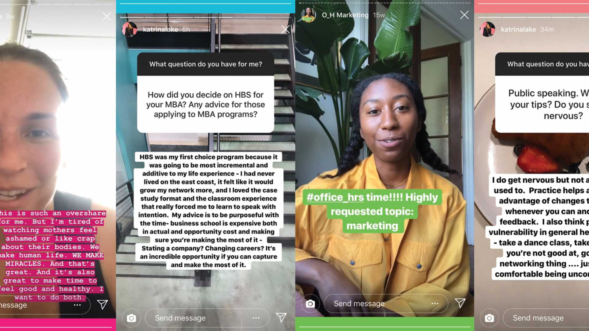 Amy Sterner Nelson, Katrina Lake, and Trinity Mouzon use Instagram Stories to answer queries from their followers about life--and running their fast-growing businesses.