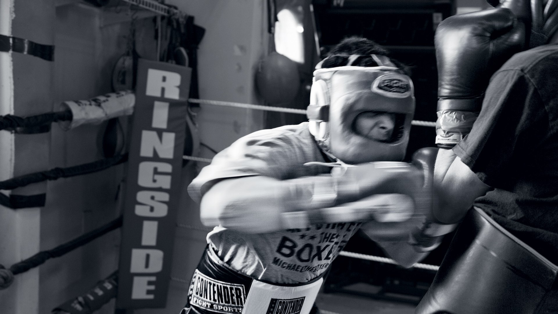 """Lukas Biewald, co-founder of CrowdFlower, drills at the Michael the Boxer gym. <a href=""""http://www.inc.com/ss/fight-club"""">View slideshow</a>"""