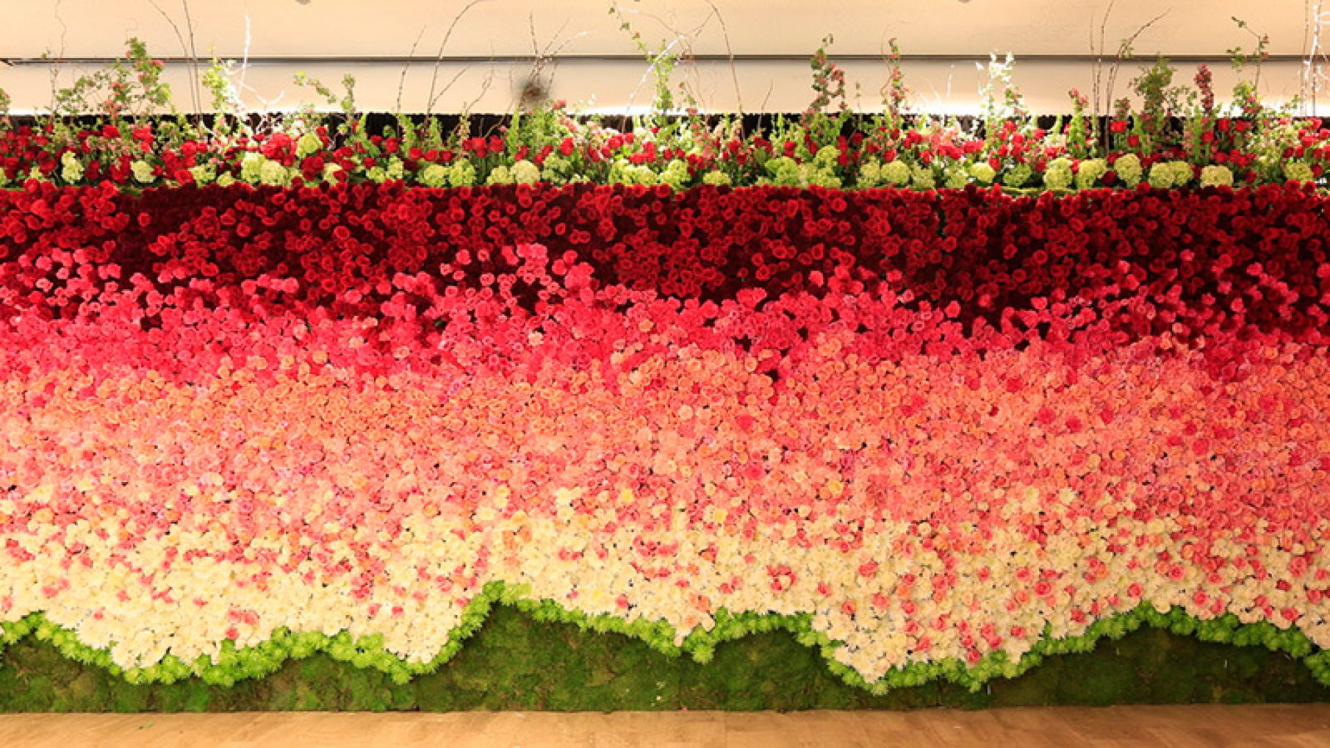 """FTD created a """"floral wall"""" for a Mother's Day event in Chicago."""