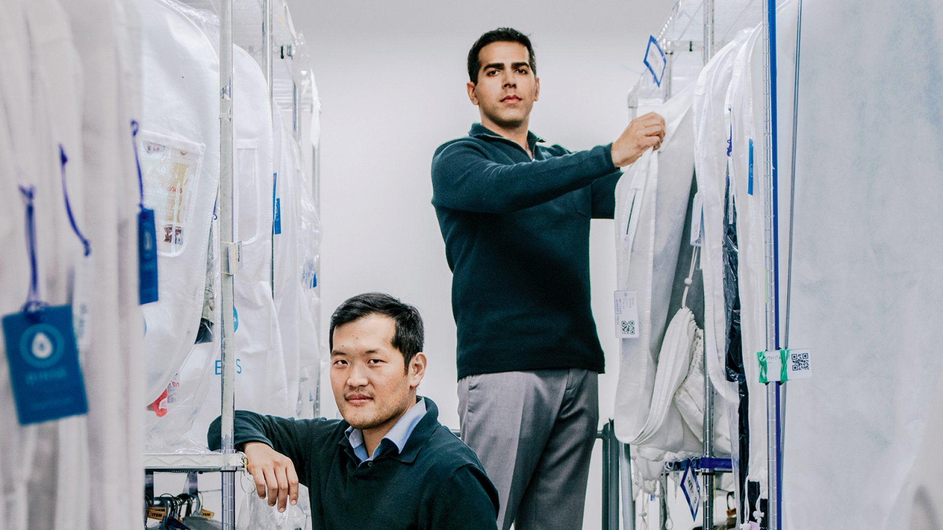 Rinse co-founders James Joun (left) and Ajay Prakash, at their company's San Francisco headquarters. Joun's inspiration for the company stemmed from a fateful visit to the mom-and-pop dry cleaner his parents have run for more than 25 years.