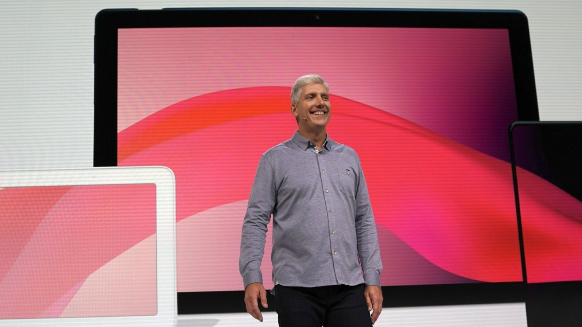 Rick Osterloh, Google's SVP of hardware, announcing the Pixel Slate, Pixel 3 and Google Home Hub.
