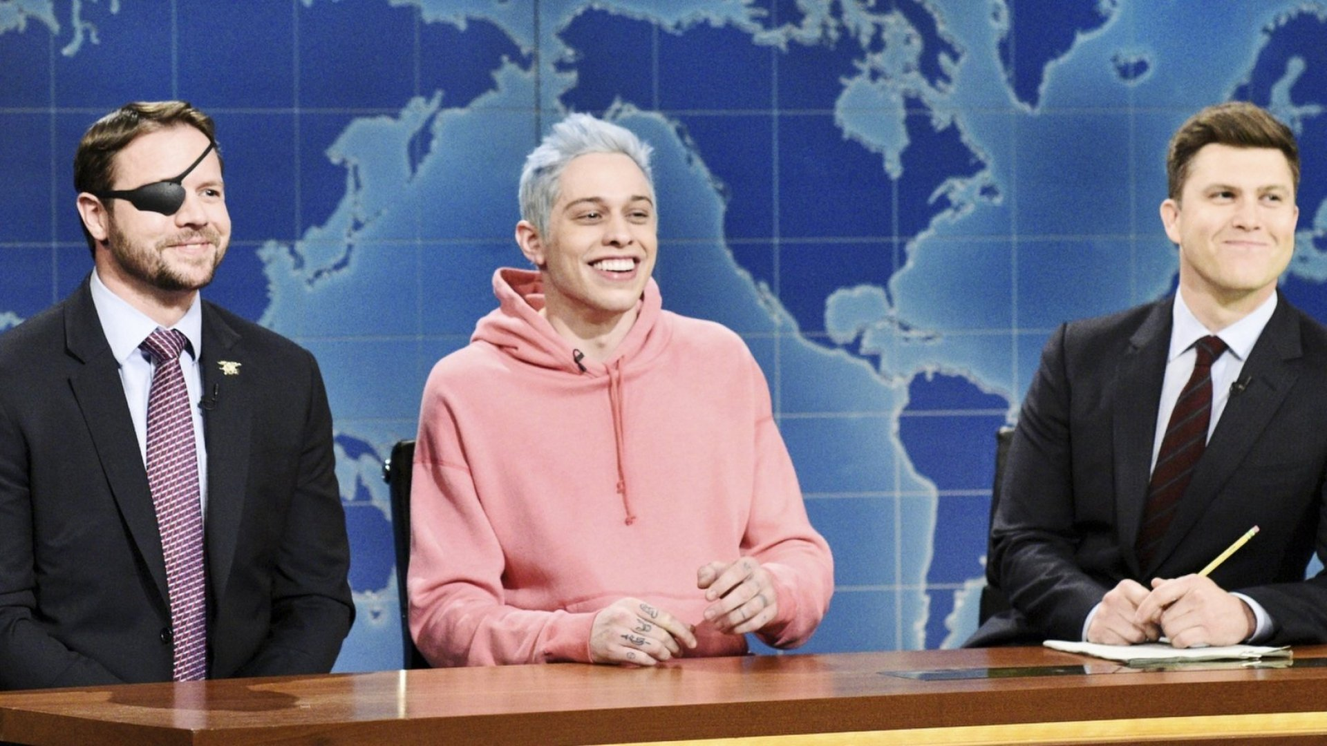 "L-R: Lt. Com. Dan Crenshaw, Pete Davidson, and ""Weekend Update"" anchor Colin Jost"