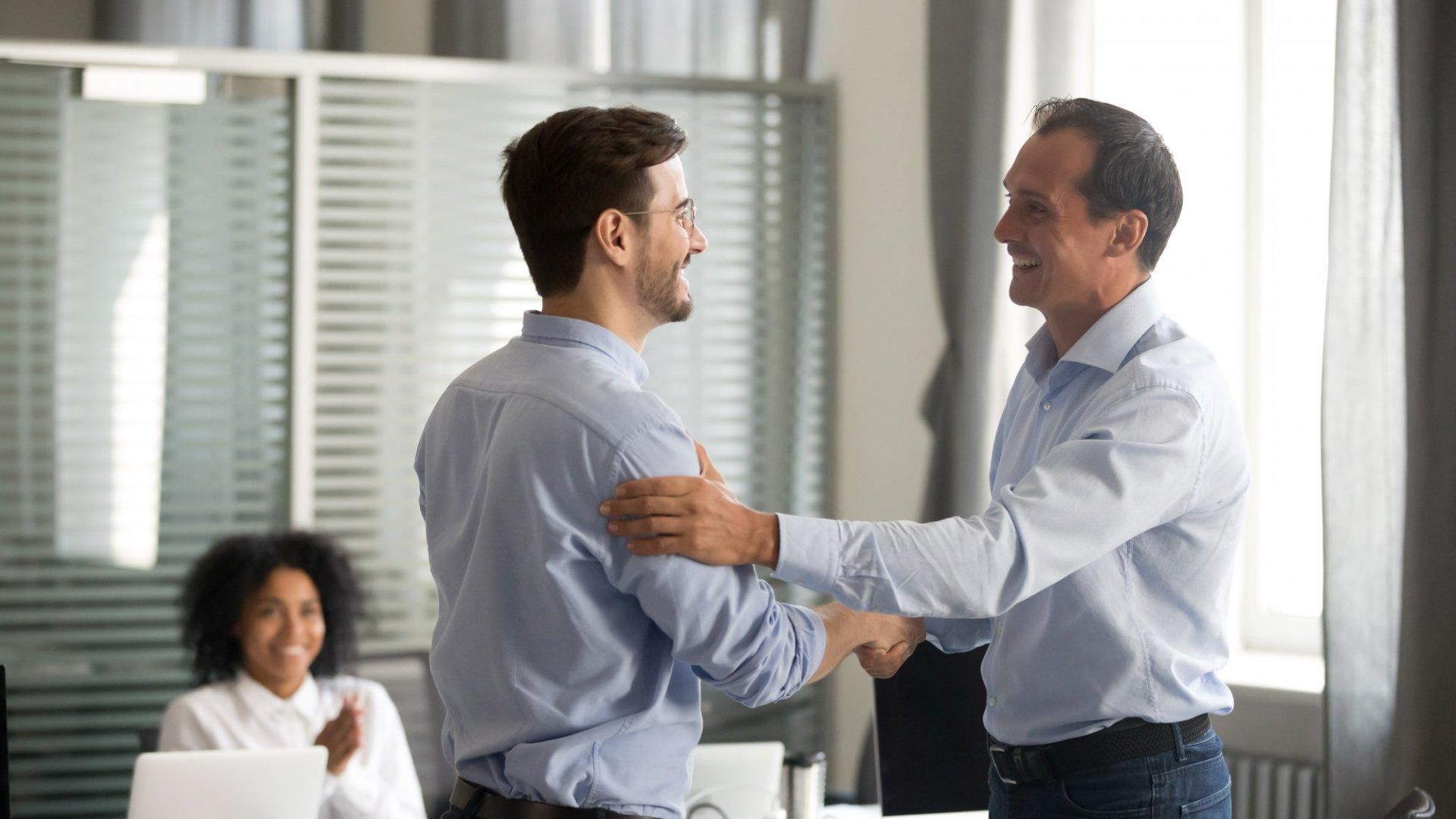Leader showing appreciation to employee