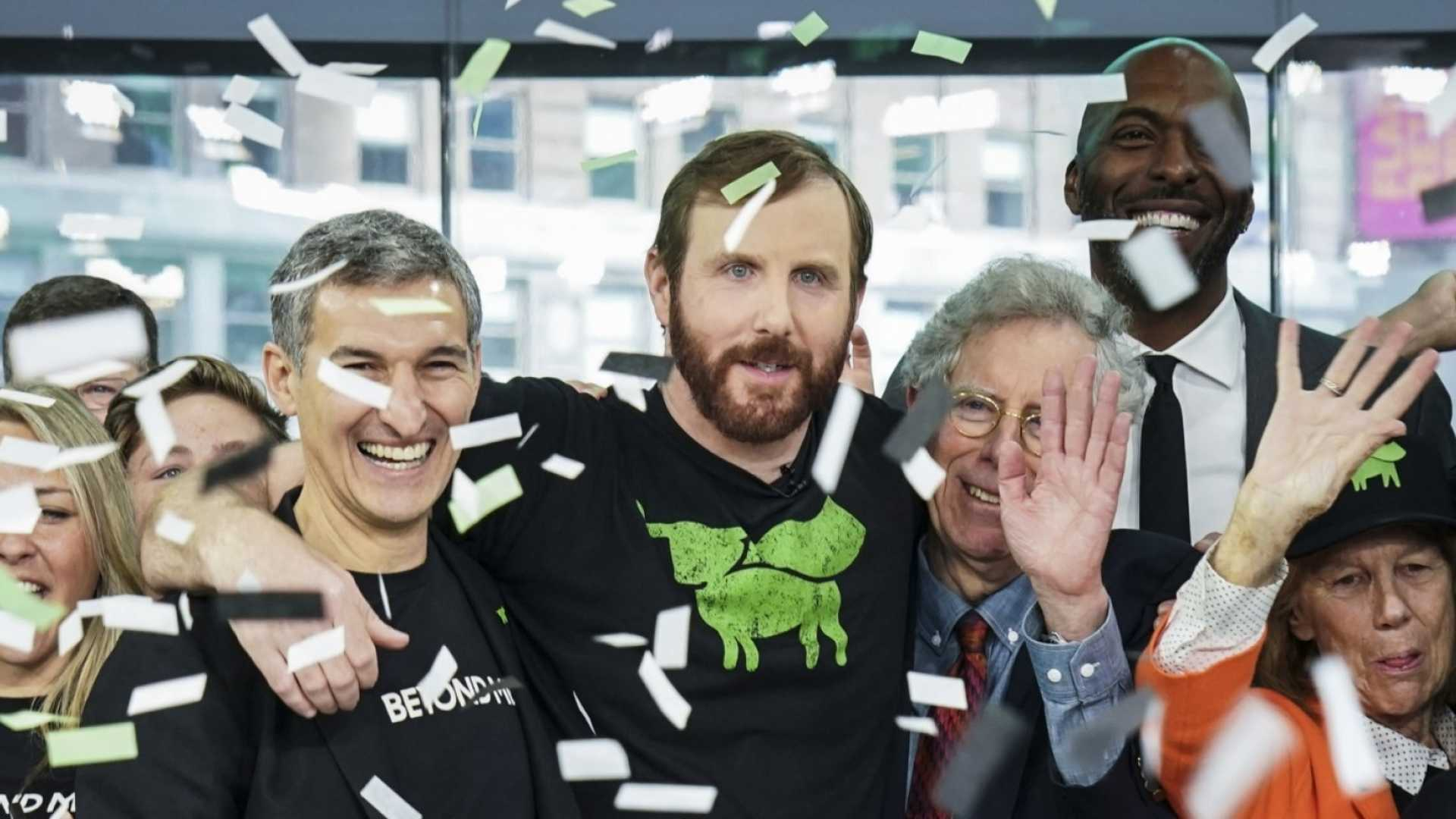 Beyond Meat founder Ethan Brown (center) during the company's hugely successful IPO.