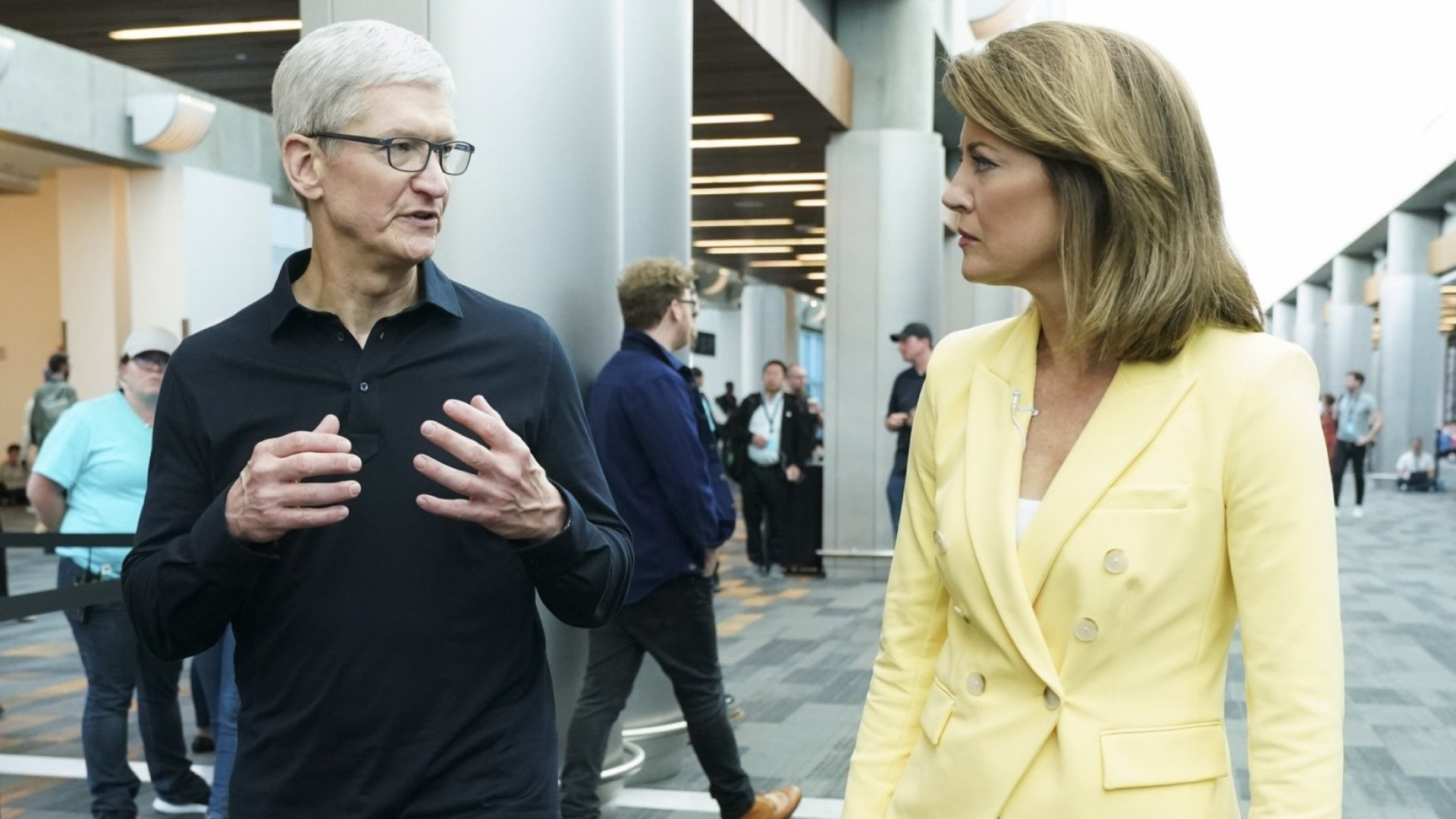 Apple CEO Tim Cook with CBS reporter Norah O'Donnell at the 2019 Worldwide Developers Conference in San Jose, California.