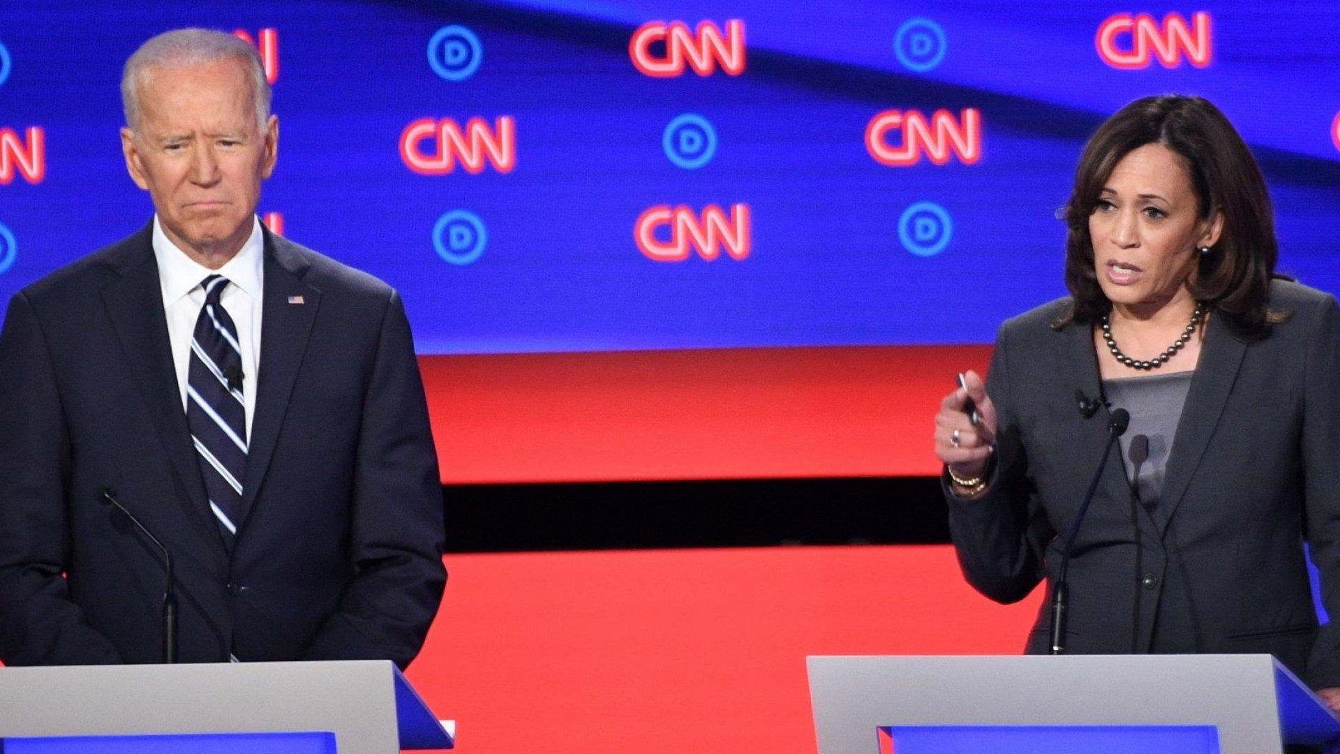 "Former vice president Joe Biden asked California senator Kamala Harris to ""Take it easy on me, kid."" She didn't."