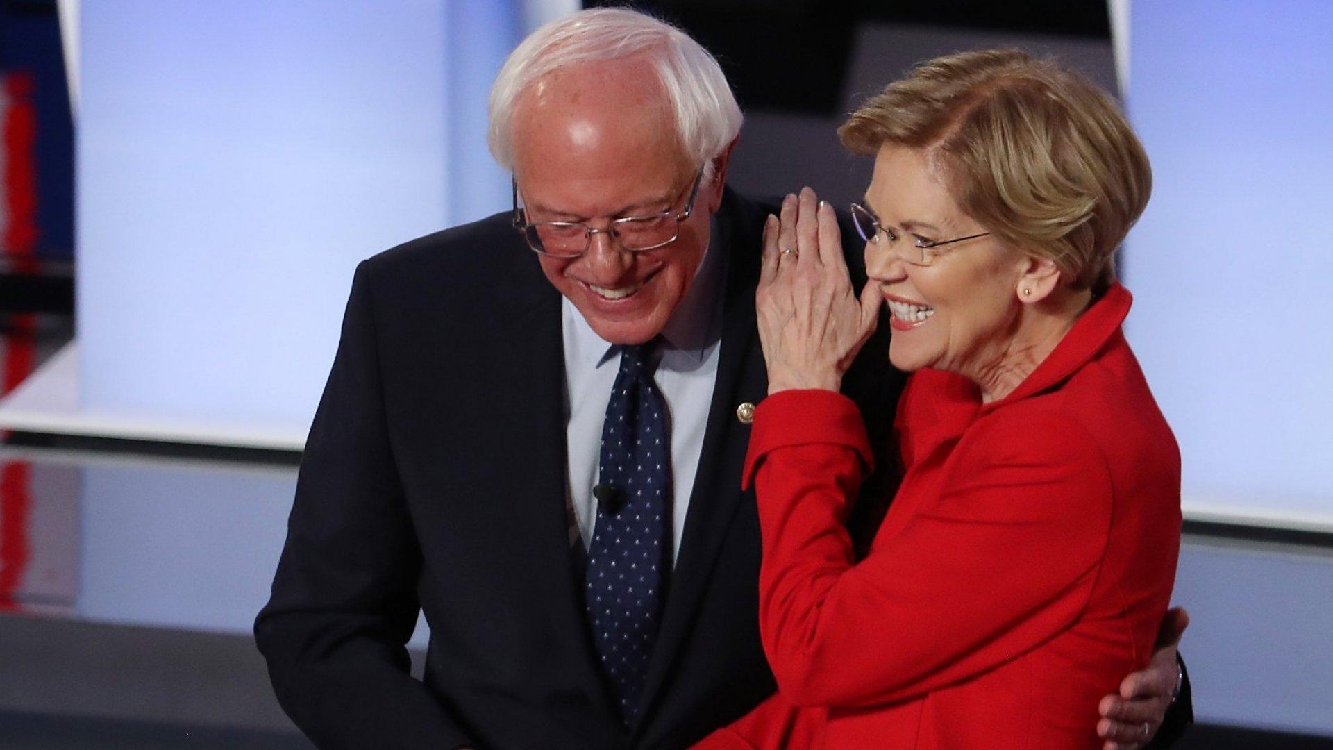 Democratic presidential candidates Senator Bernie Sanders (I-Vt.) and Senator Elizabeth Warren (D-Mass.).