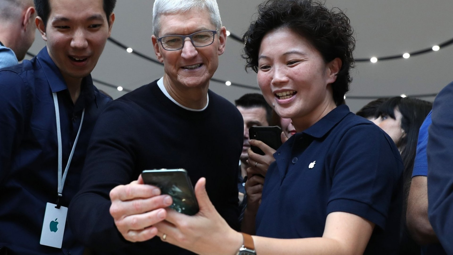 Tim Cook with the new iPhone 11 Pro Max, September 10, 2019, at Apple headquarters in Cupertino, California.