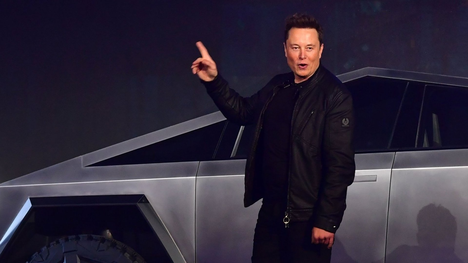 Elon Musk with the Tesla Cybertruck.