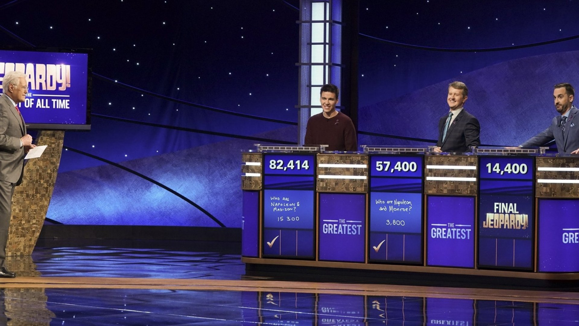 From left: 'Jeopardy!' host Alex Trebek and contestants James Holzhauer, Ken Jennings, and Brad Rutter.