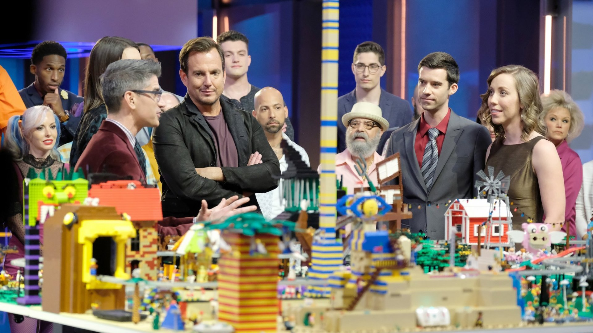 """Will Arnett (second from left, foreground) on """"Lego Masters."""""""