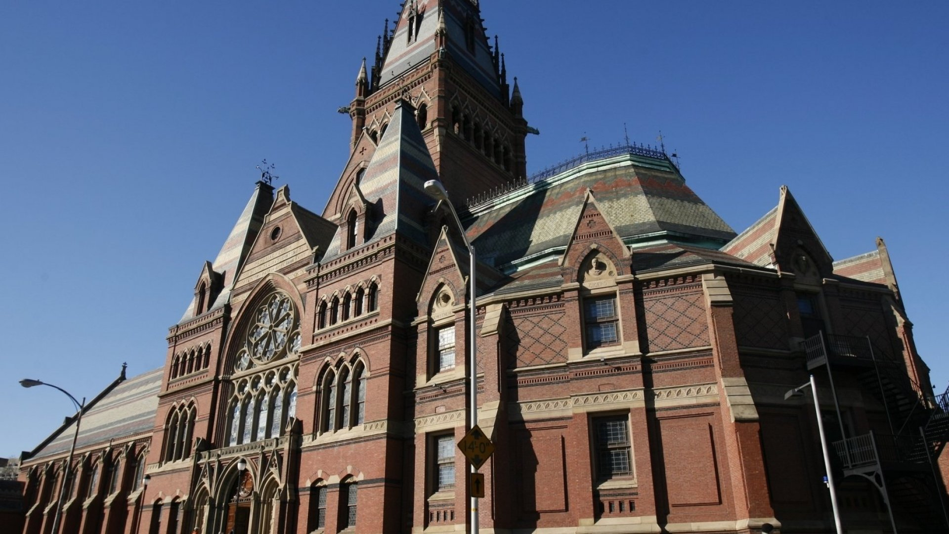 Harvard University campus, the exterior view of Memorial Hall.