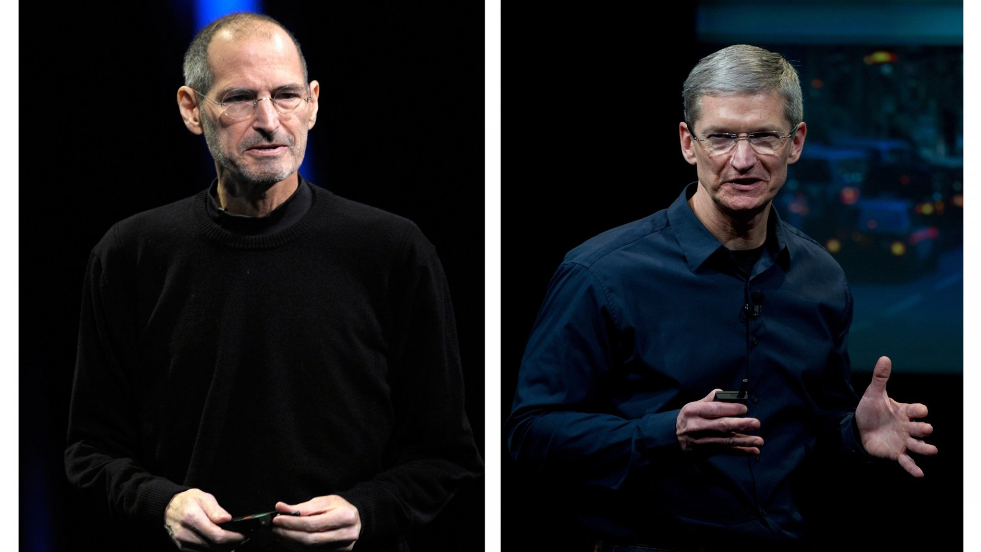 Steve Jobs and Tim Cook.