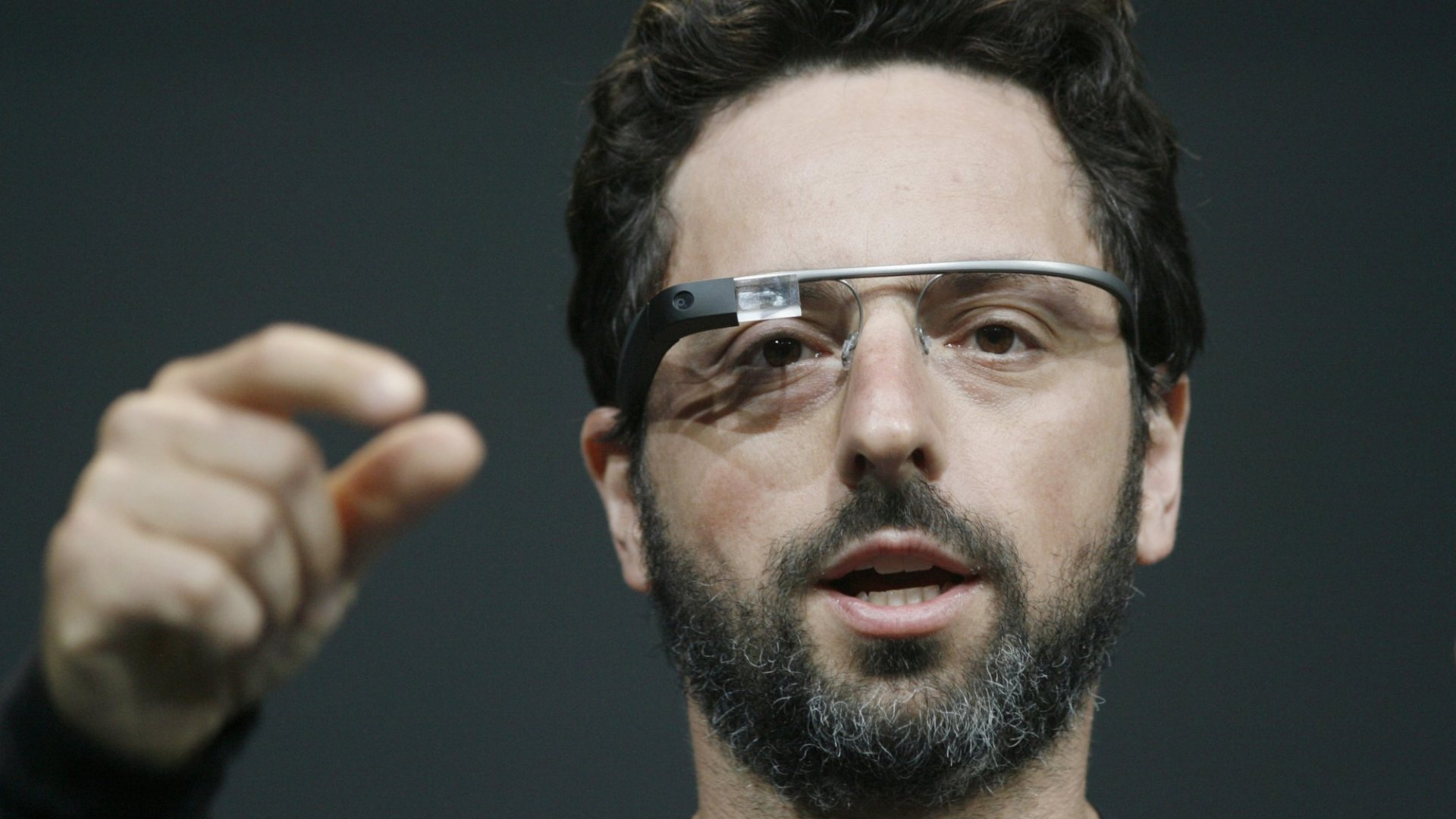 Sergey Brin, co-founder of Google appear at the keynote with the Google Glass.