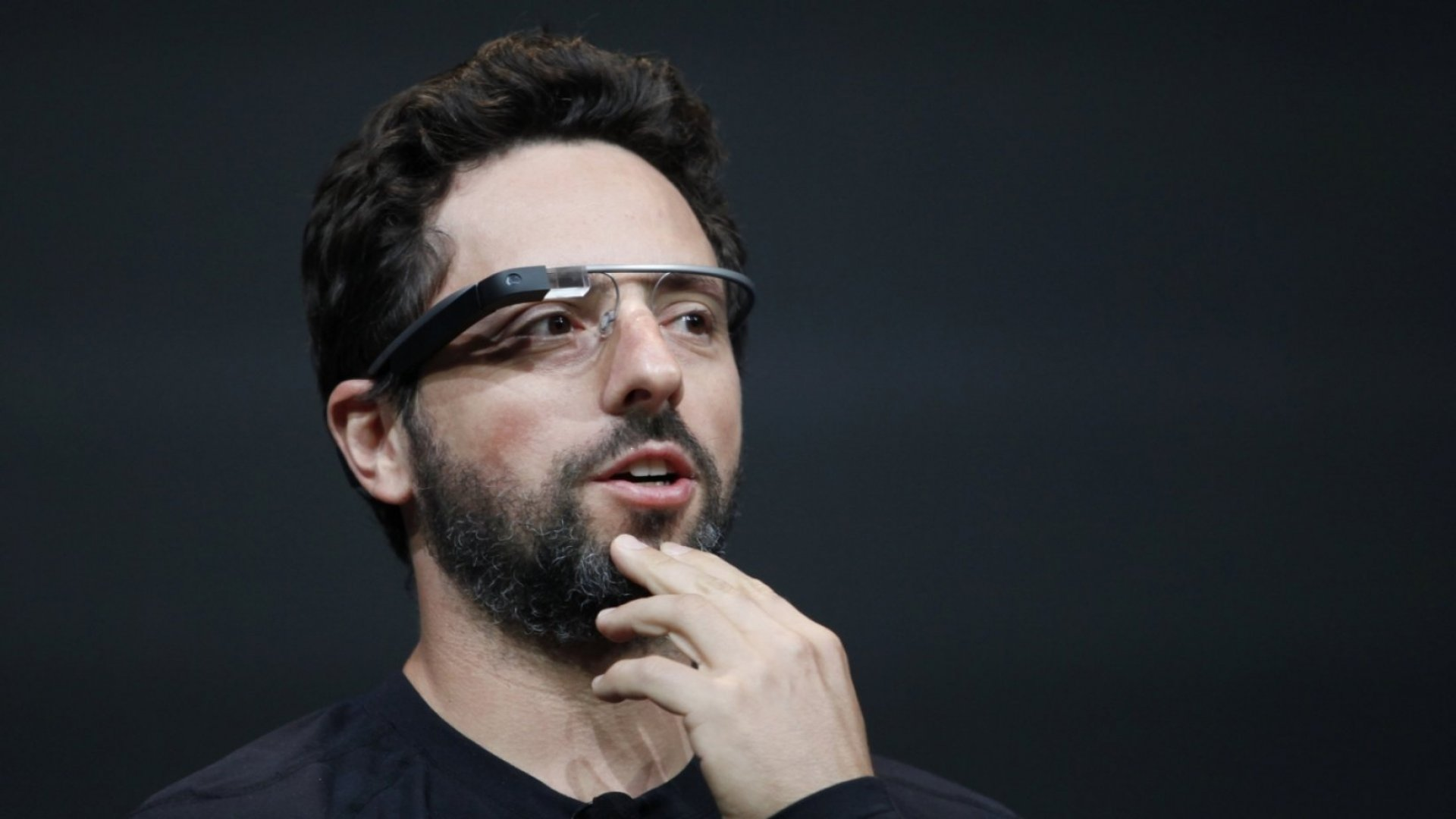 Sergey Brin, co-founder of Google, appears with the Google Glass to introduce the Google Glass Explorer edition during Google's annual developer conference, Google I/O, on June 27, 2012.