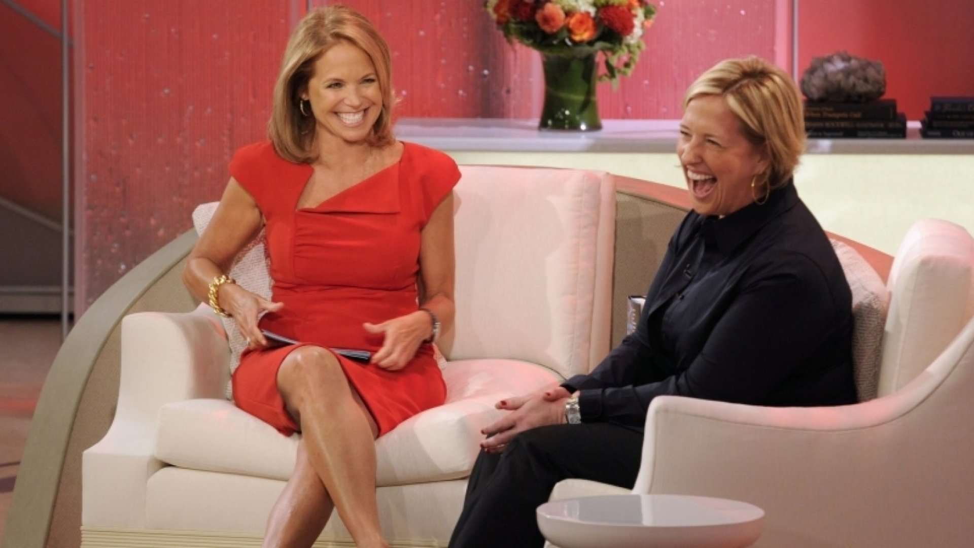 Brene Brown (right) with Katie Couric.